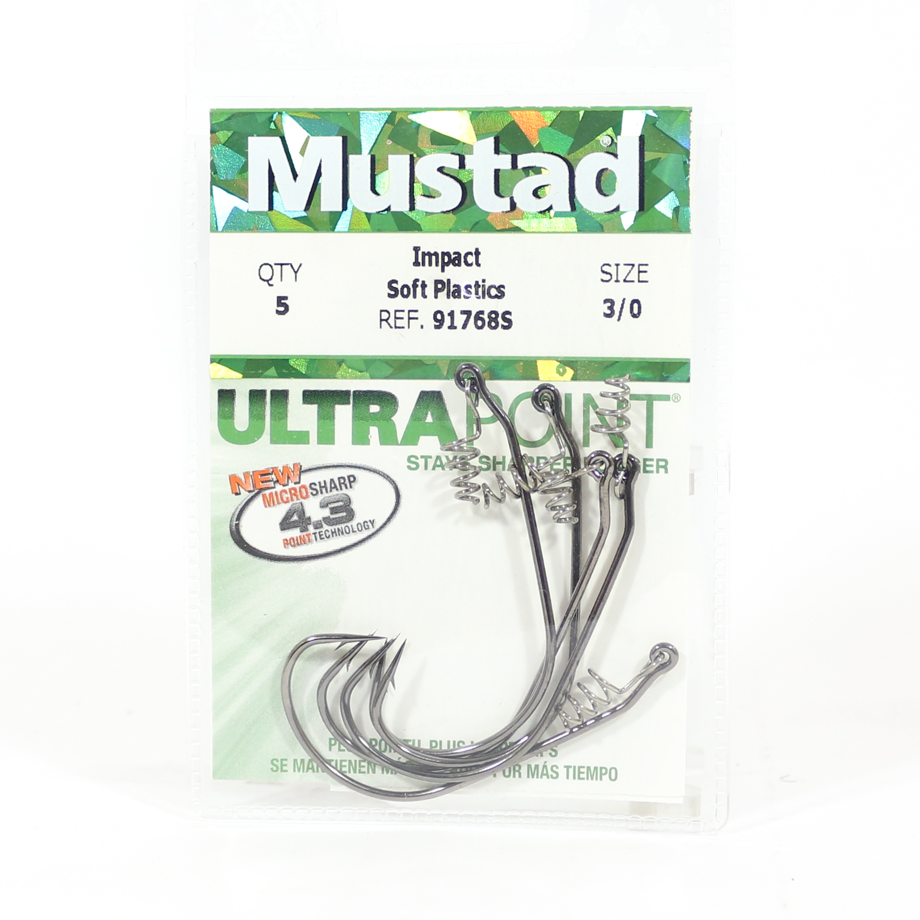Mustad Spring Keeper Hook Size 3/0 Black (8332)