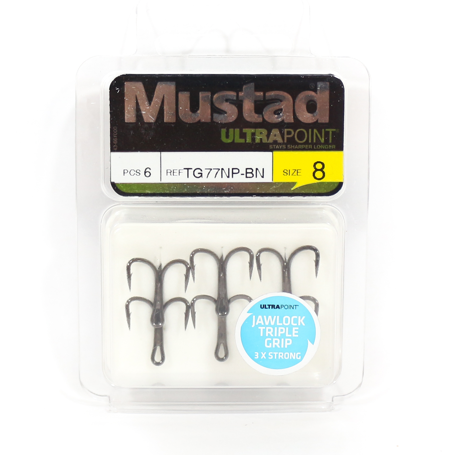 Mustad Treble Hook Jawlock Triple Grip 3X Size 8 Black (4285)