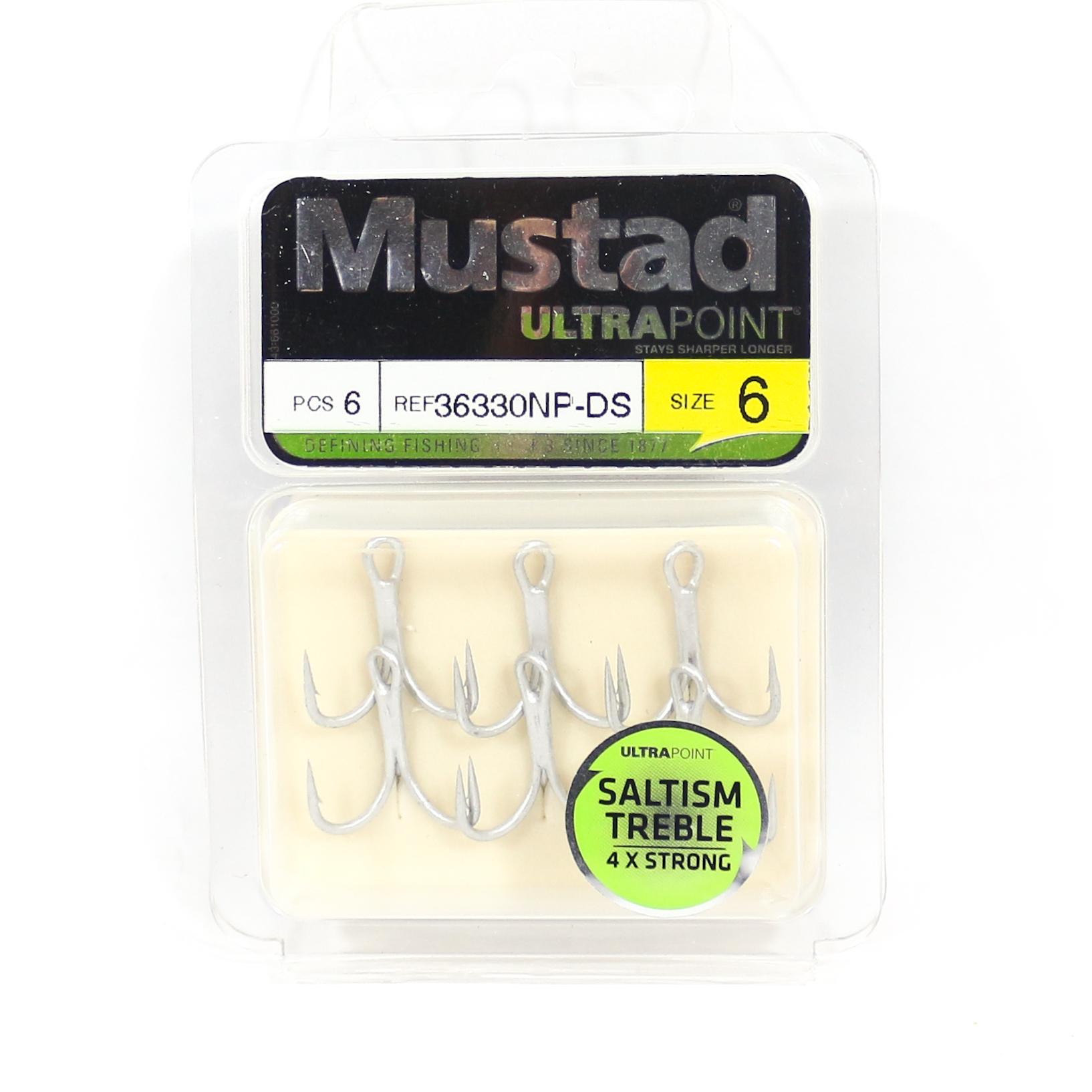 Mustad Treble Hook Saltism Durasteel 4X Size 6 (8413)