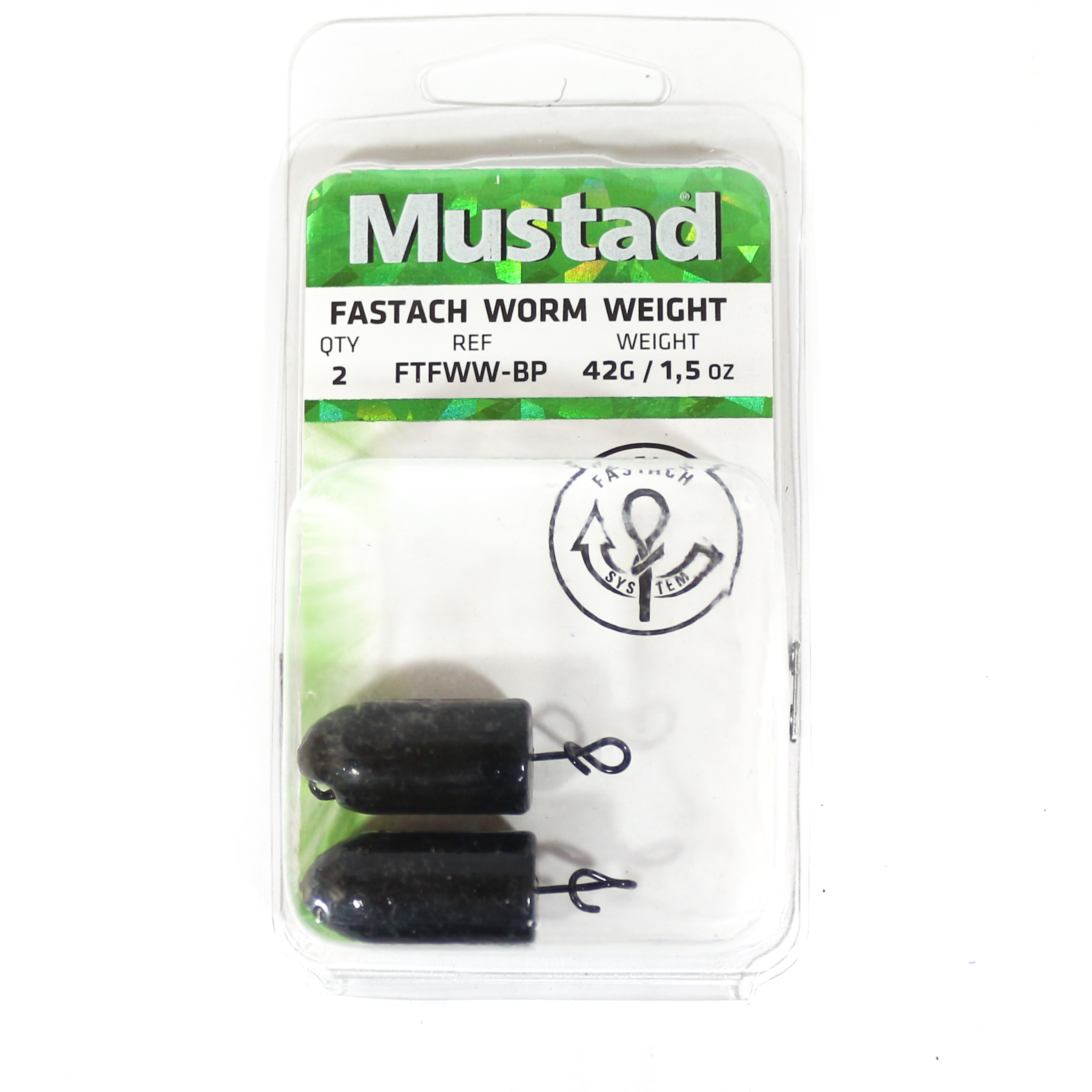 Mustad Worm Weight Fastach 1.5 Oz Black (2241)