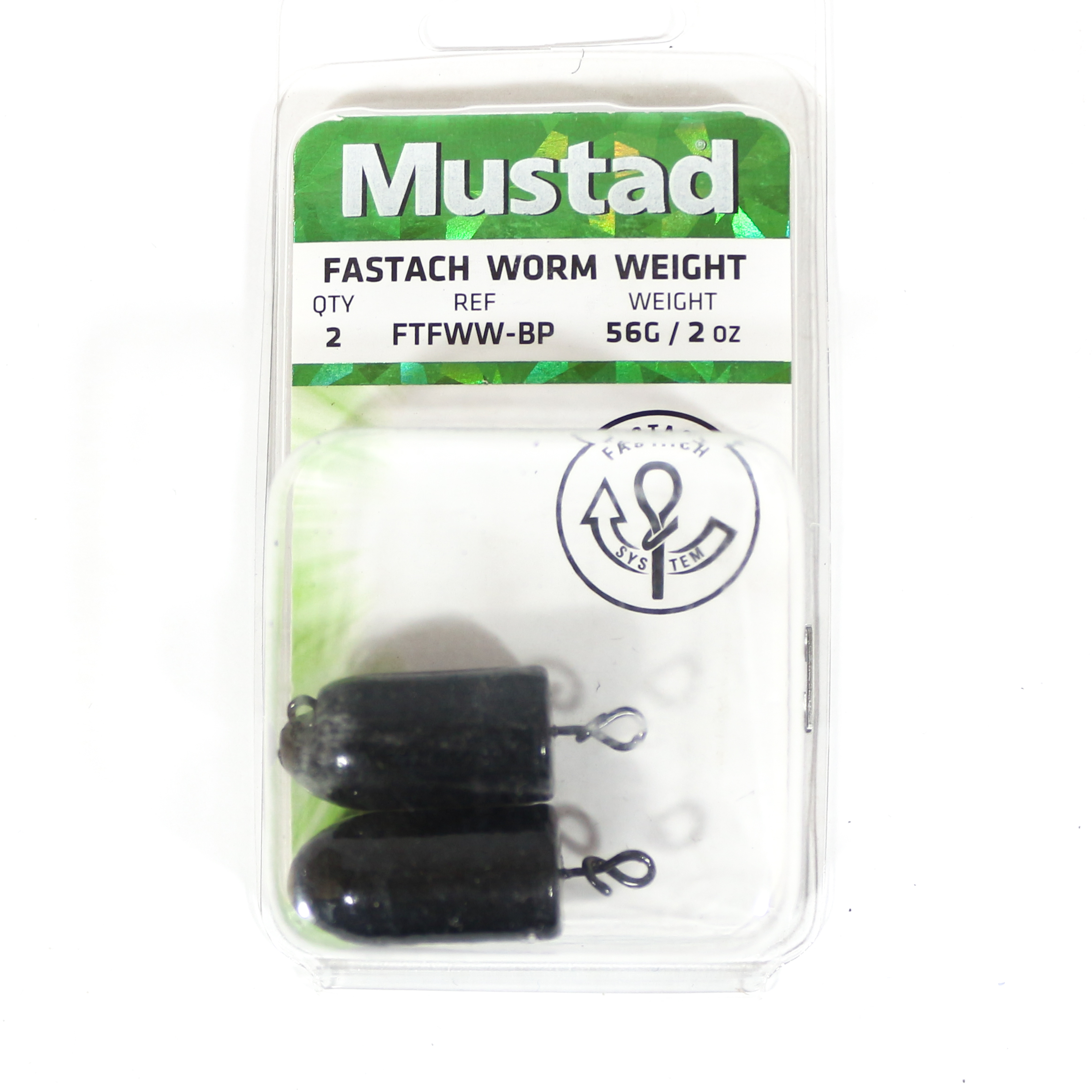 Mustad Worm Weight Fastach 2 Oz Black (2258)