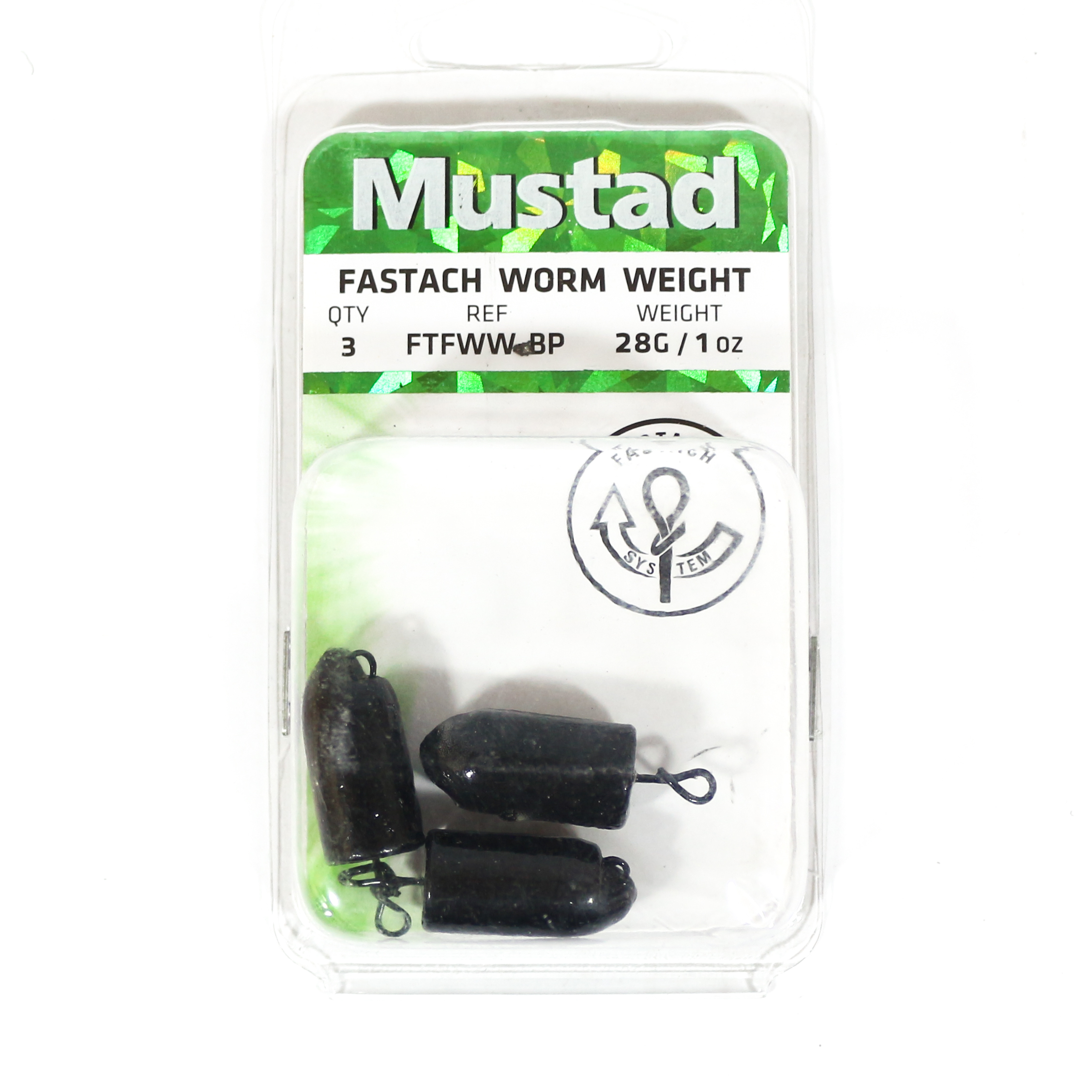 Mustad Worm Weight Fastach 1 Oz Black (1083)