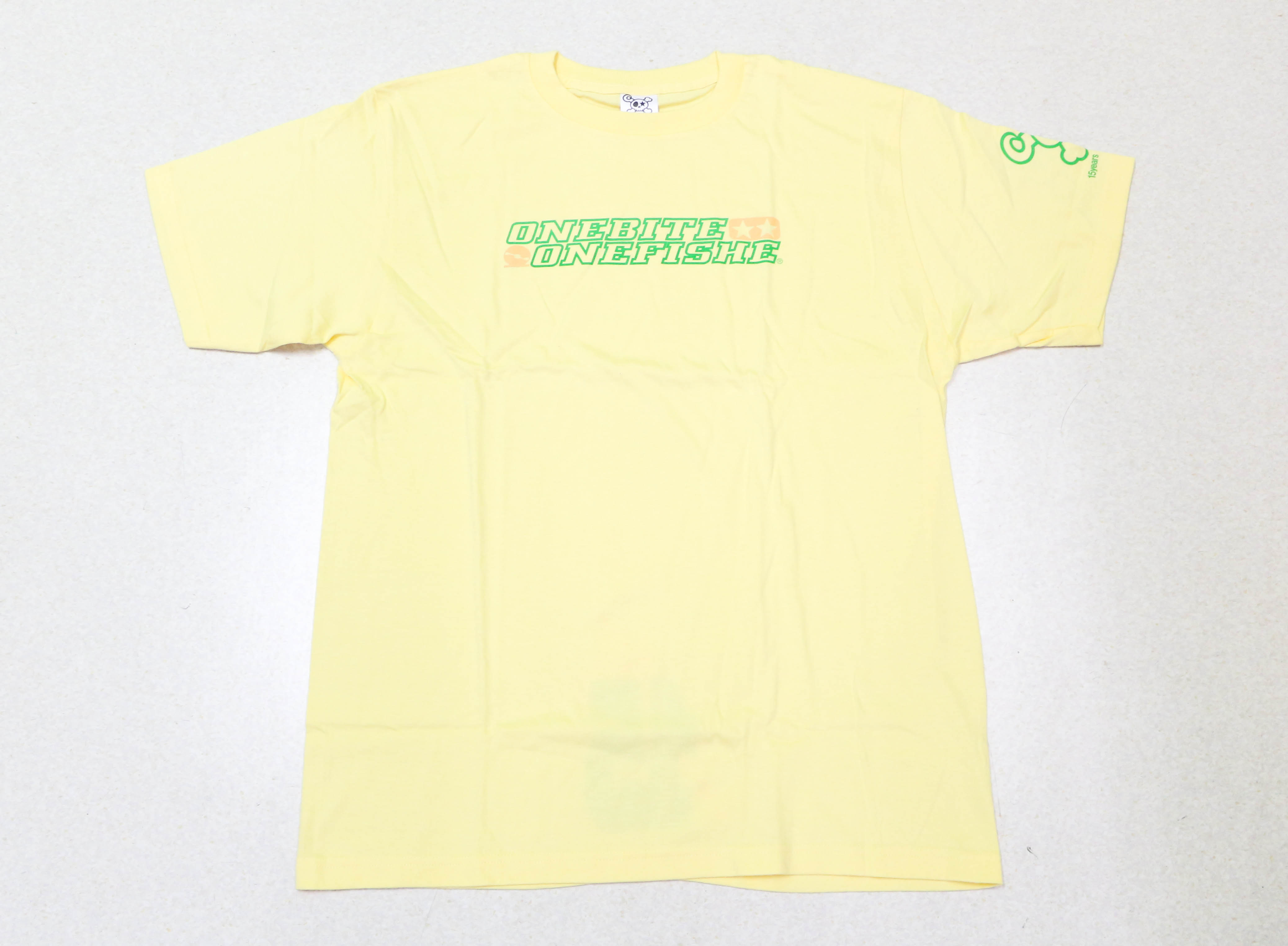 Sale One Bite One Fish T-Shirt OBOF-15 OriLogo Short Sleeve Yellow XL (0097)