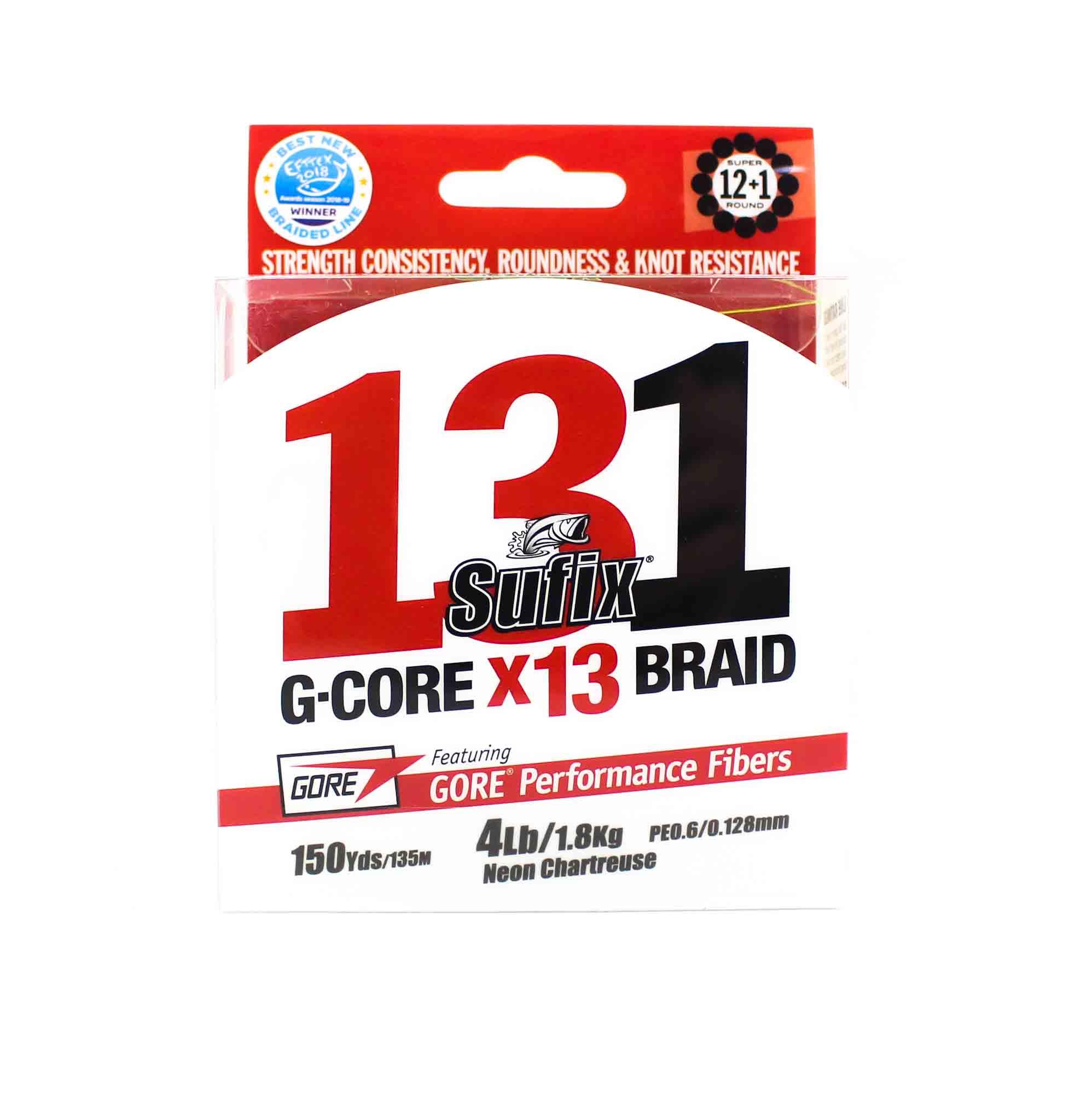 Sufix Braided 131 G-Core X13 Line 150yds 4lb Neon Chart (3840)