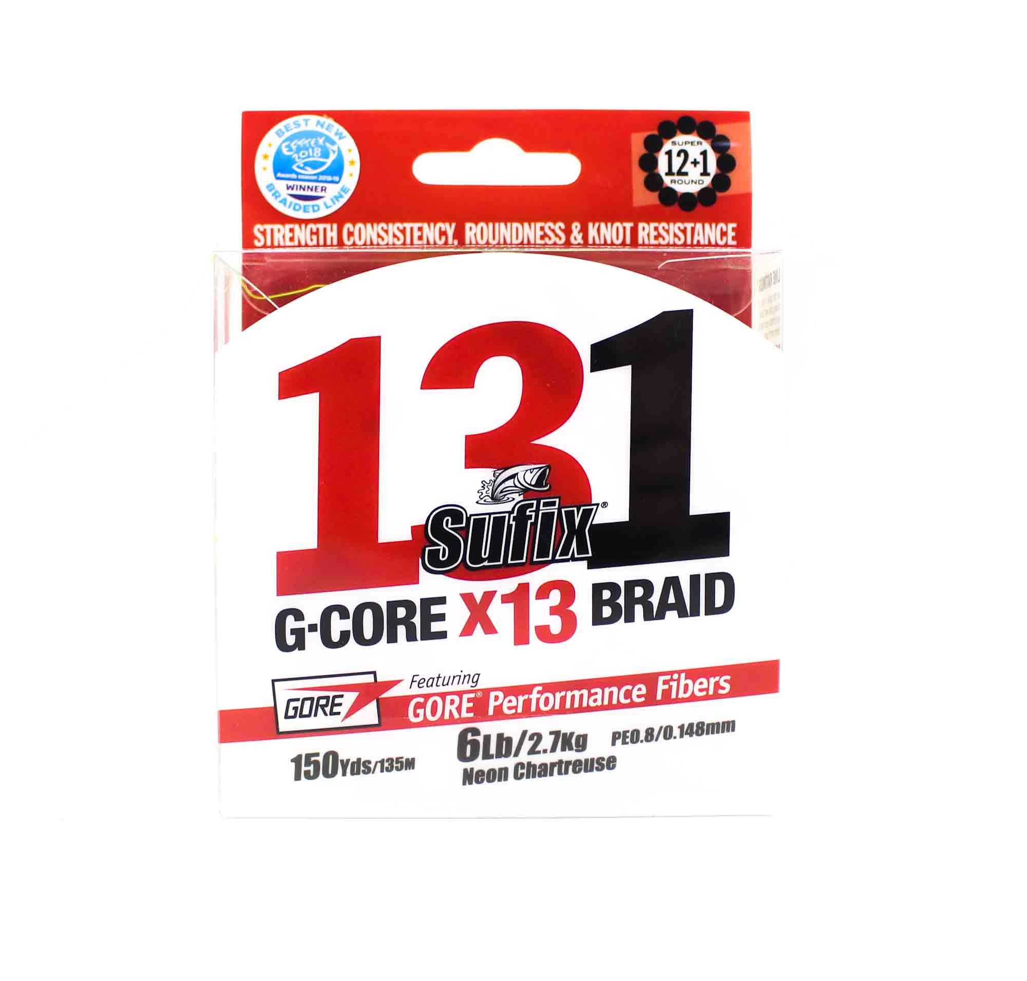 Sufix Braided 131 G-Core X13 Line 150yds 6lb Neon Chart (3871)