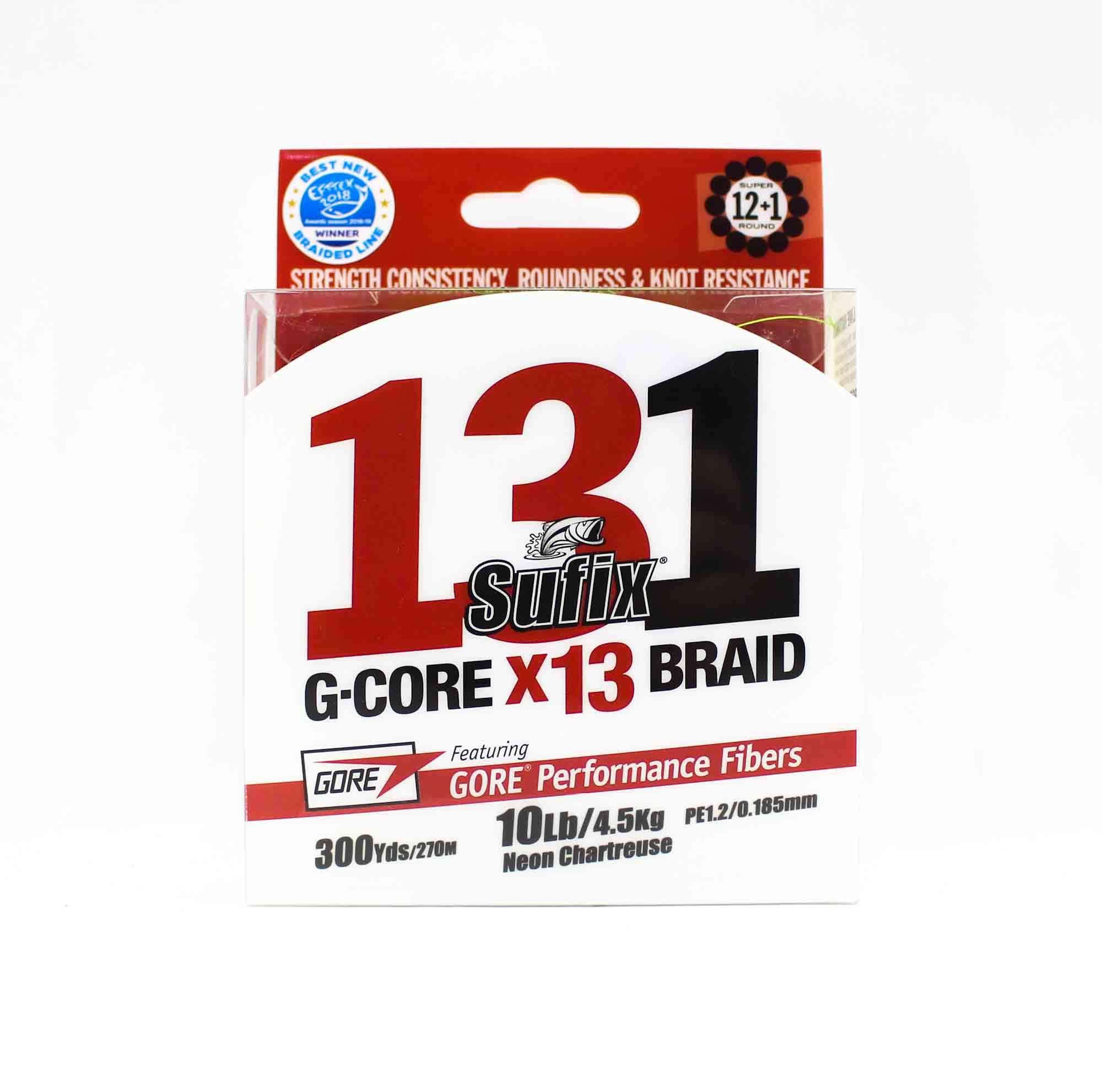 Sufix Braided 131 G-Core X13 Line 300yds 10lb Neon Chart (3918)