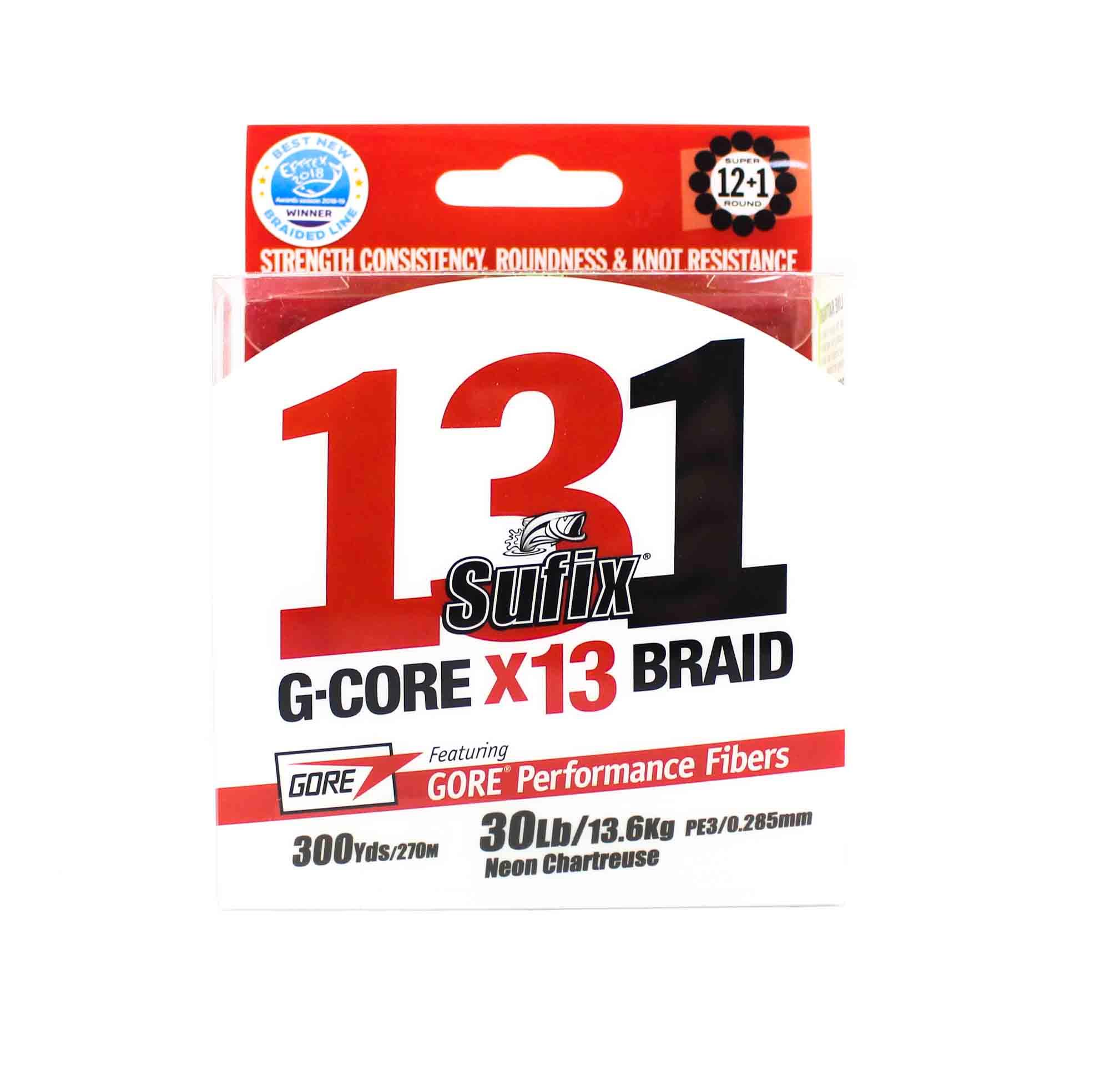 Sufix Braided 131 G-Core X13 Line 300yds 30lb Neon Chart (3949)