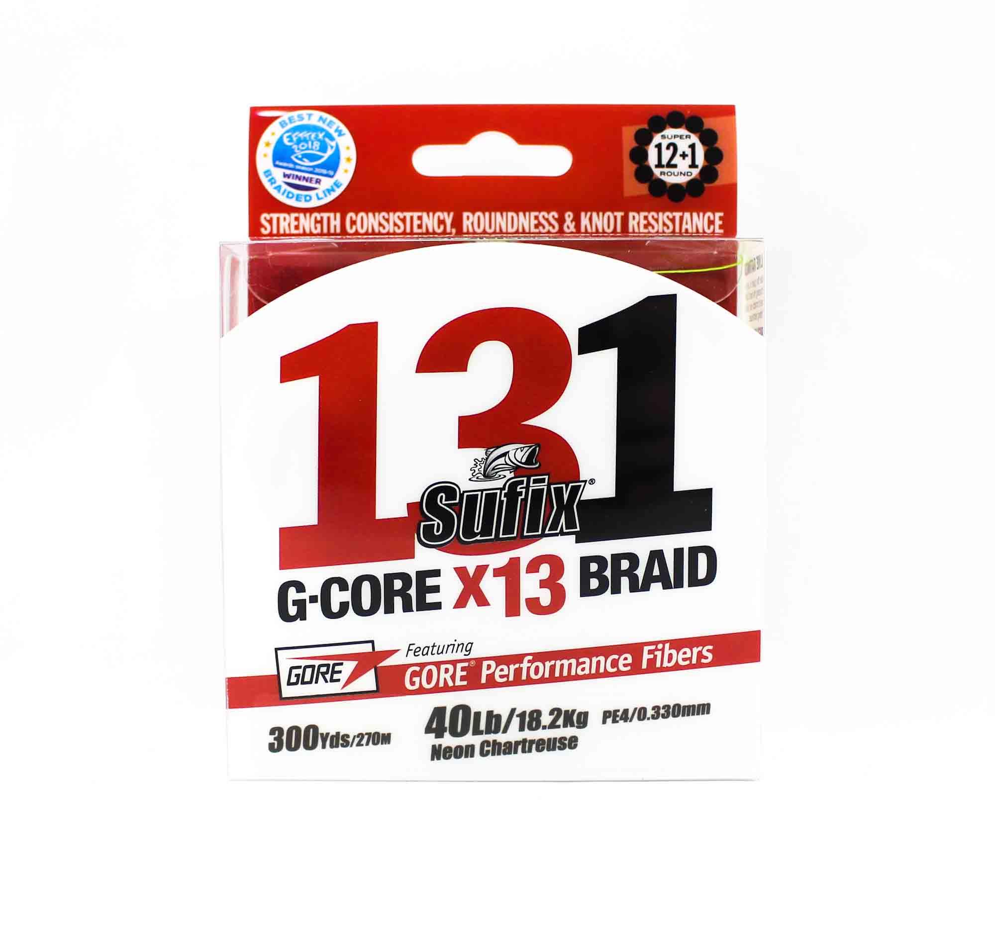 Sufix Braided 131 G-Core X13 Line 300yds 40lb Neon Chart (4045)