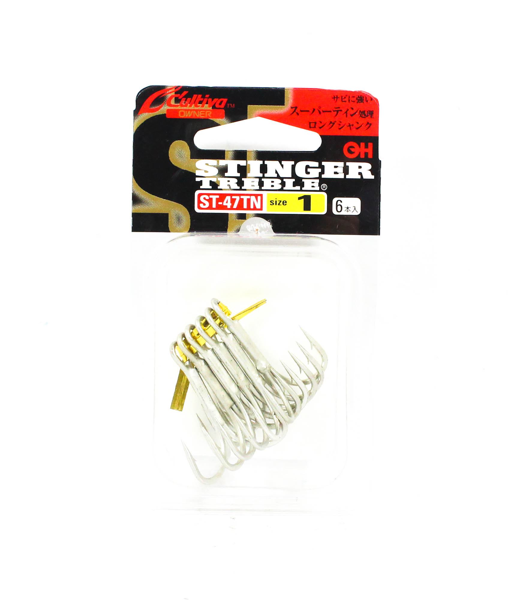 5308 Owner SQT-21 BL Treble Hook 4 Point Barbless Size 1