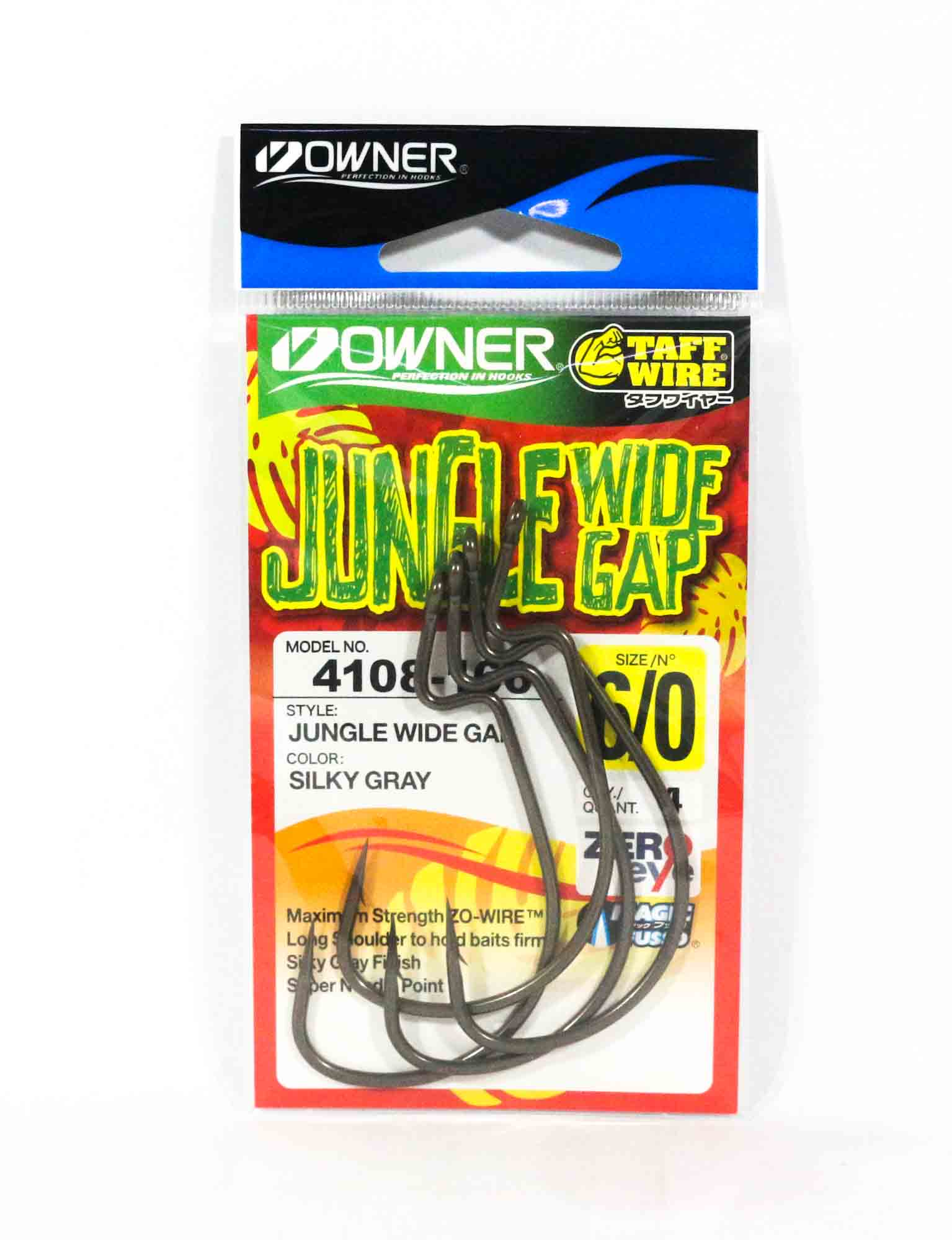 Owner 54108 Jungle Wide Gap Worm Hook Size 6/0 (8091)