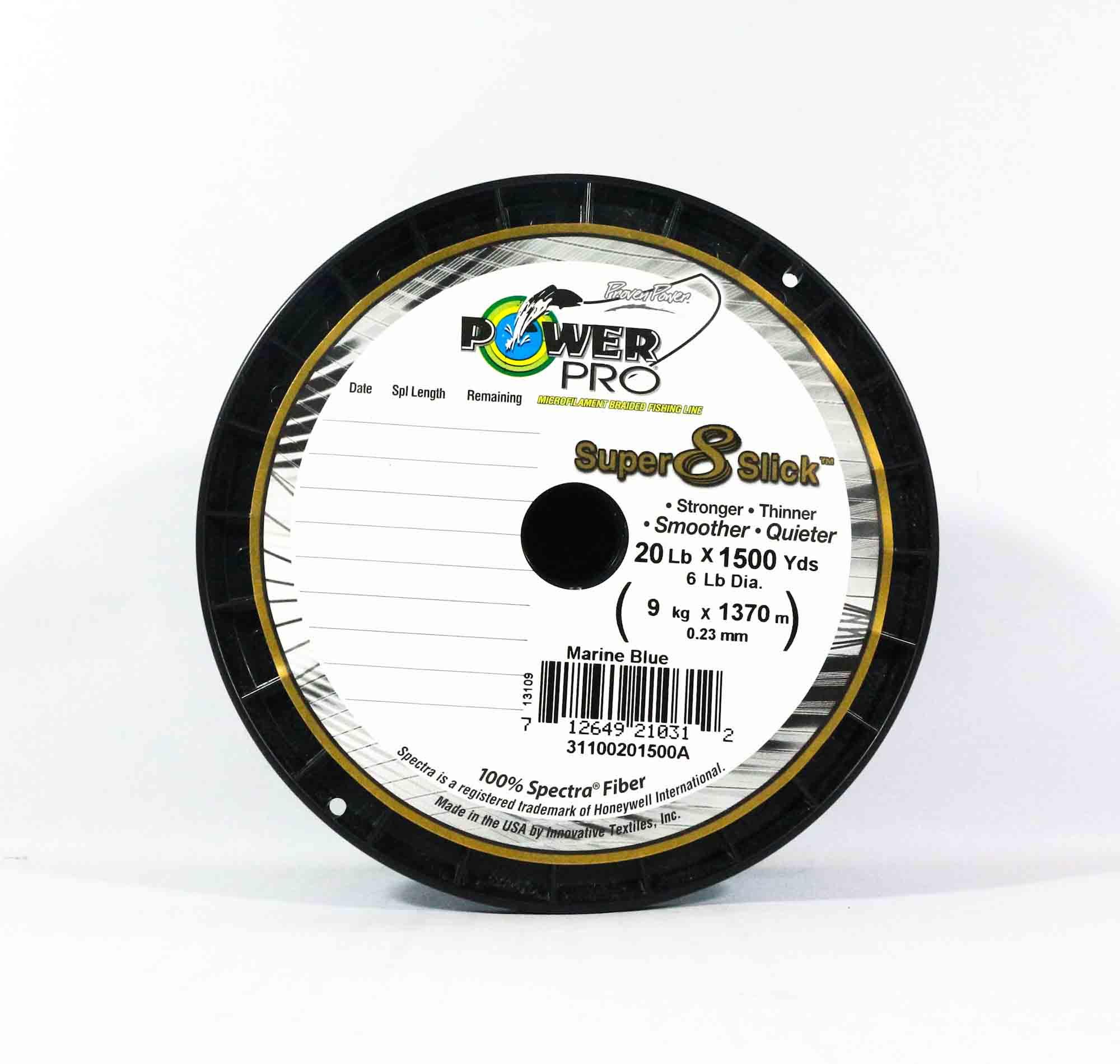 Power Pro Super 8 Slick Spectra Line 20lb by 1500yds Blue (0312)