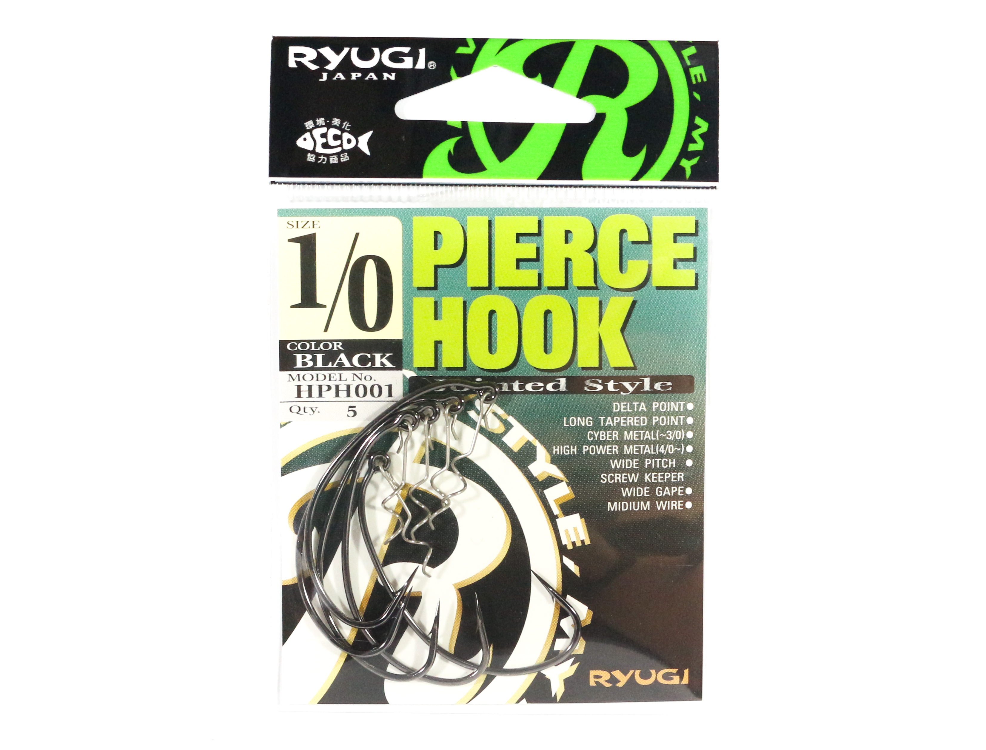 Ryugi HPH001 Pierce Hook Wide Gap Screw Keeper Size 1/0 (0577)