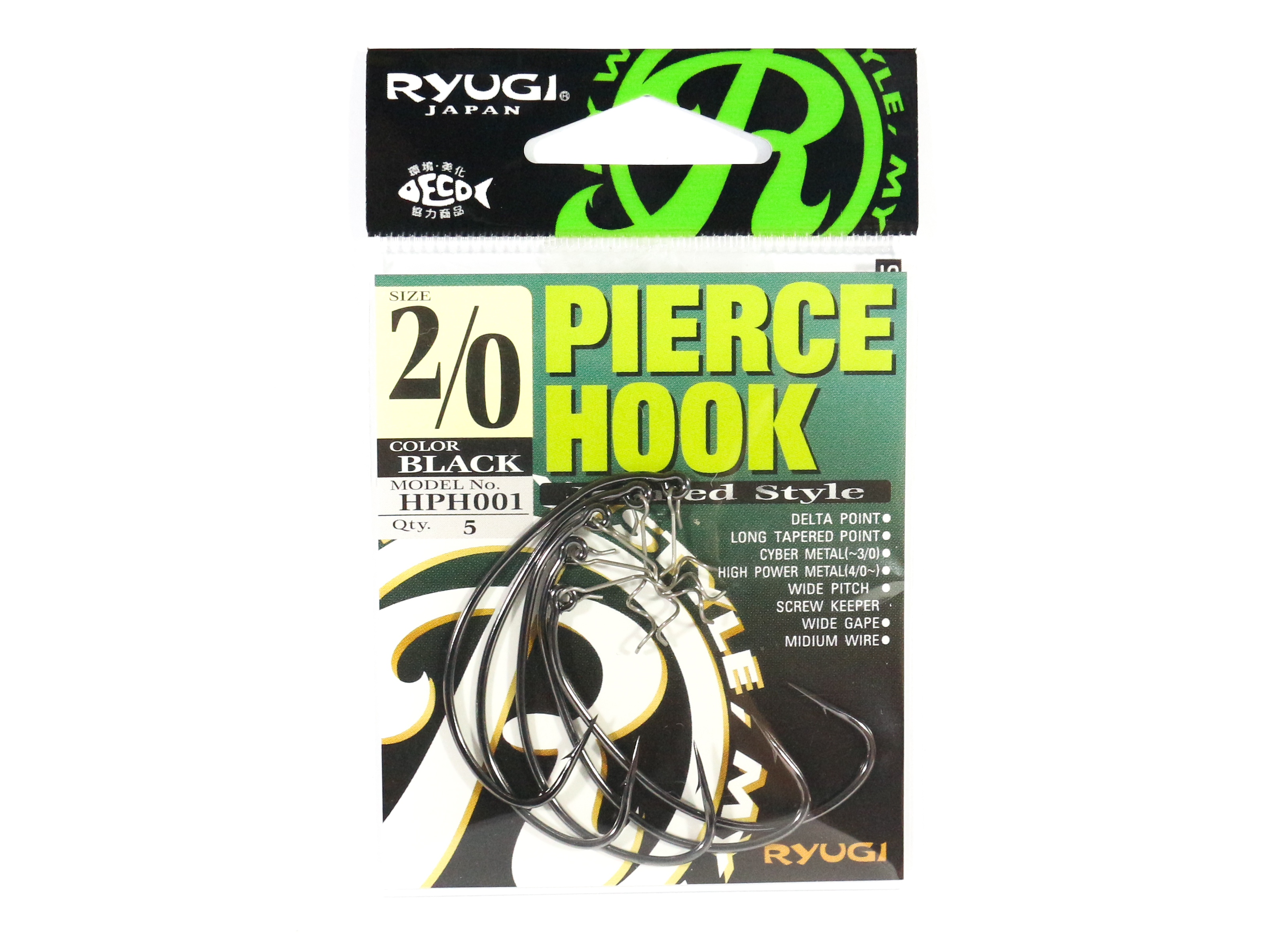Ryugi HPH001 Pierce Hook Wide Gap Screw Keeper Size 2/0 (0584)