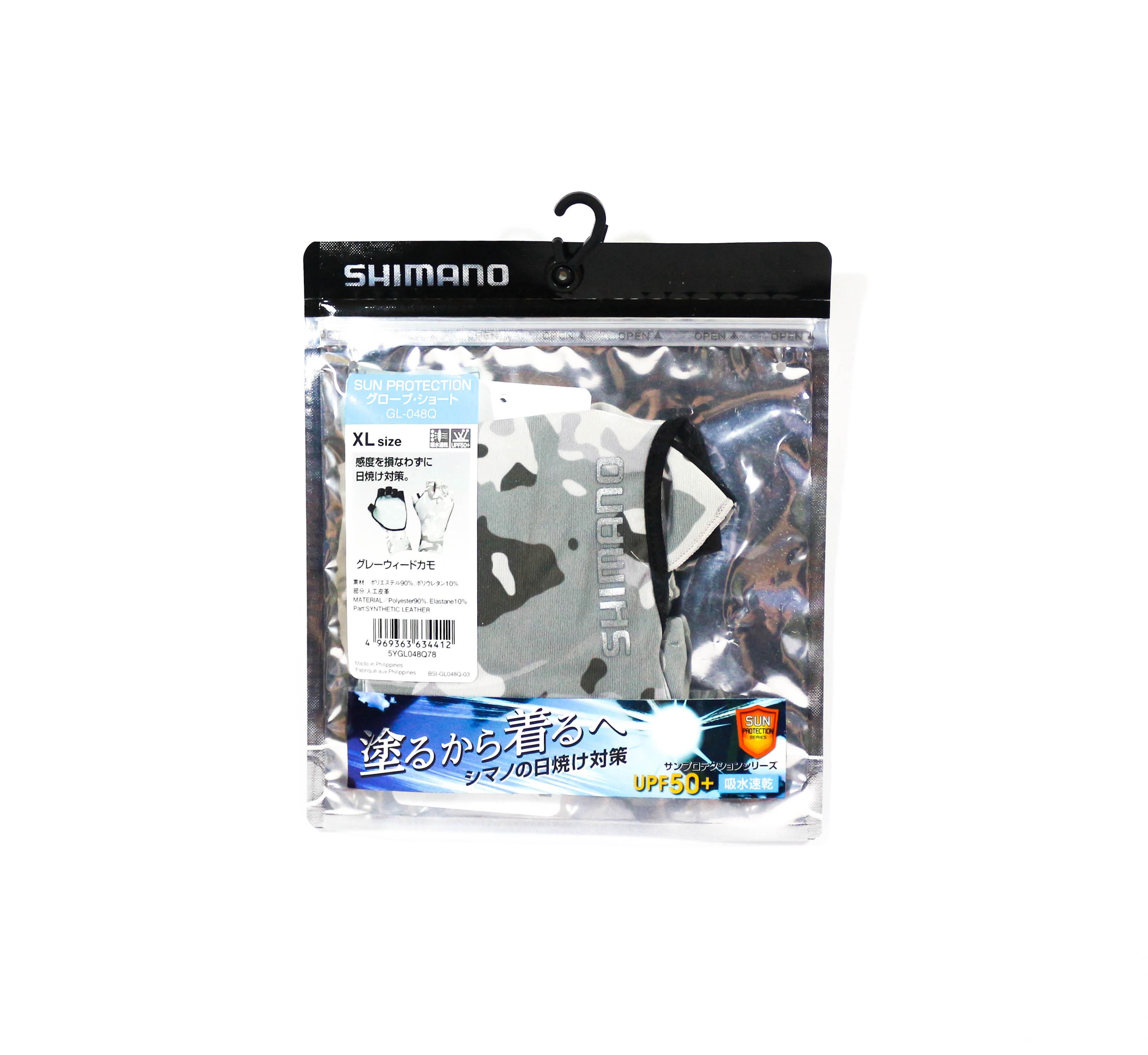 Shimano GL-048Q Gloves UPF 50 Sun Shield 5 Fingerless Camo W Size XL 634412