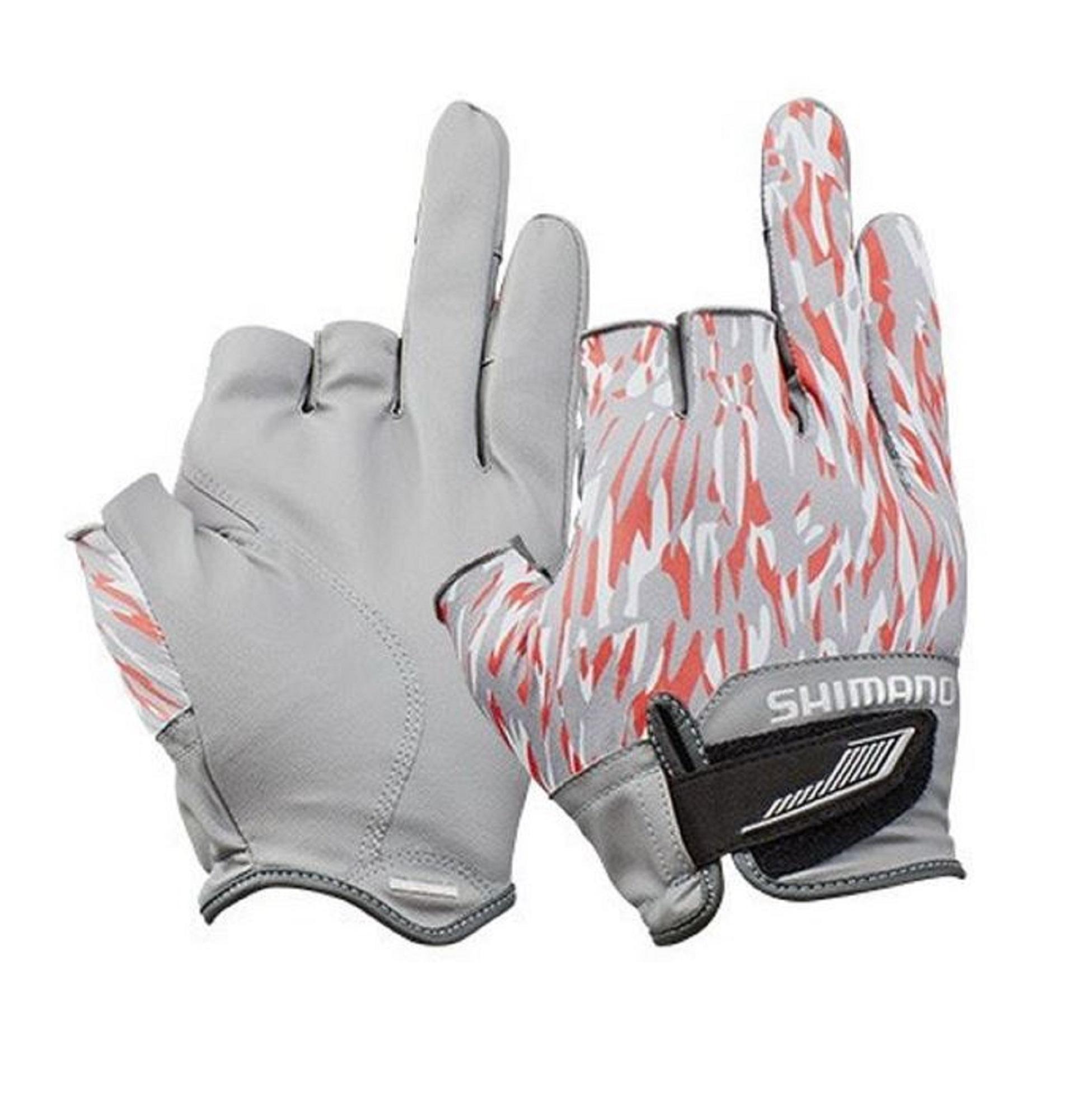Shimano GL-021S Gloves 3D Casting 3 Fingerless Orange Camo Size L 669506