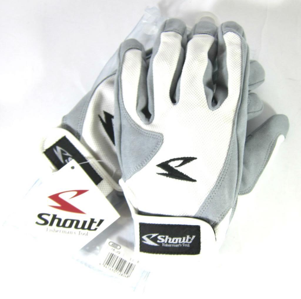 Shout 15-JG Gloves Jigging Short Fine Mesh White Size L (8031)