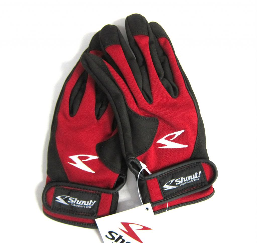 Shout 15-JG Gloves Jigging Short Fine Mesh Red Size L (8079)