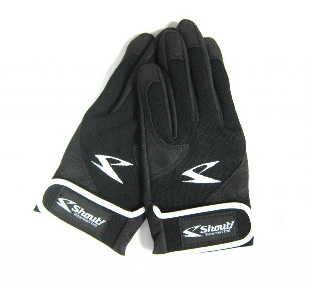 Shout 15-JG Gloves Jigging Short Fine Mesh Black Size L (8116)