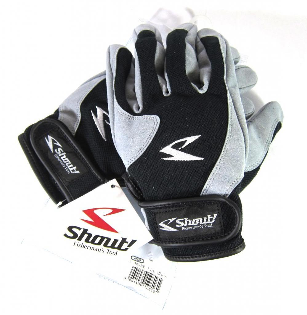 Shout 15-JG Gloves Jigging Short Fine Mesh Gray Size L (8154)