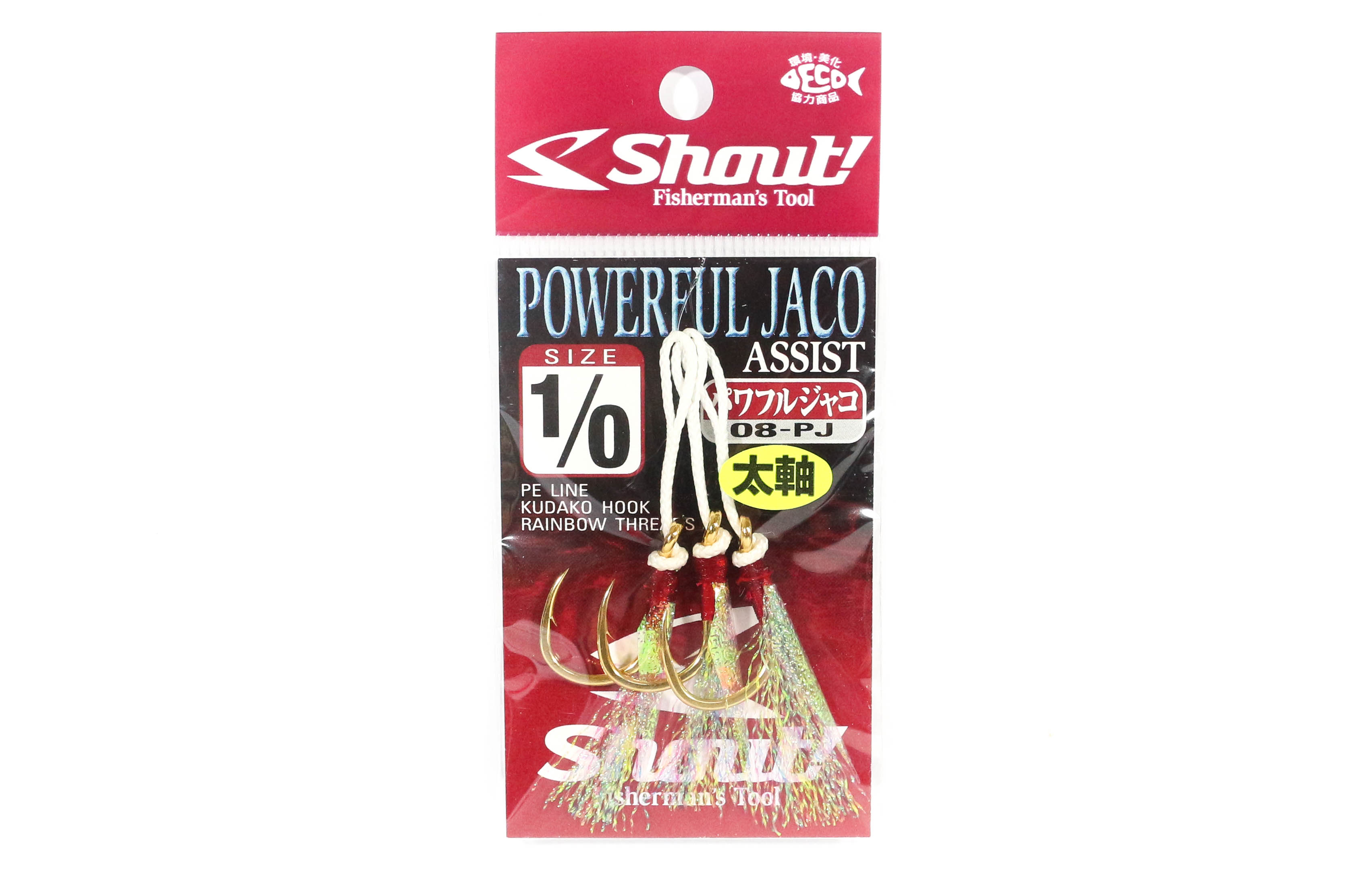 Shout 08-PJ Powerful Jaco Hook Rigged Assist Rainbow Thread Size 1/0 (6102)