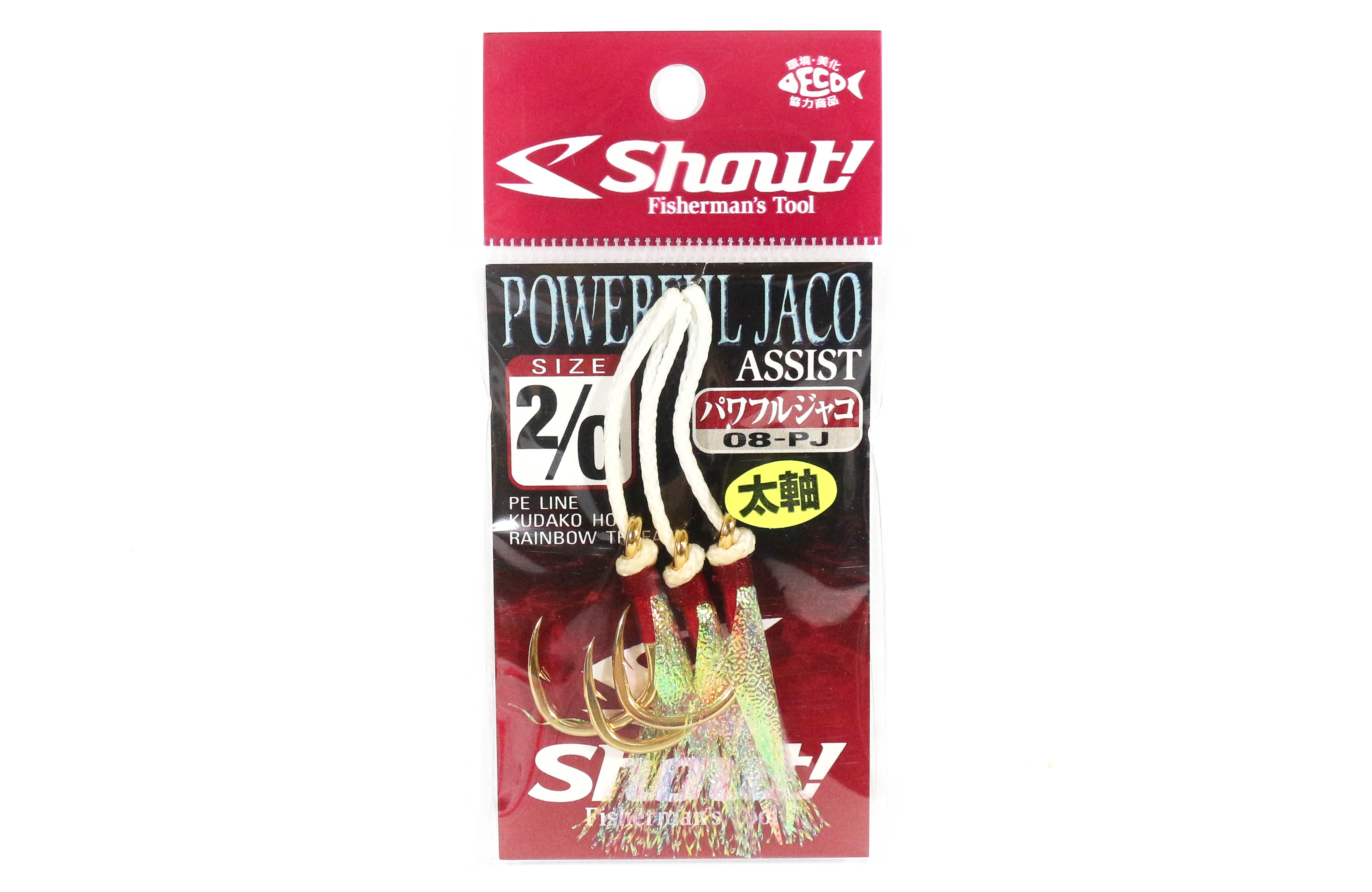 Shout 08-PJ Powerful Jaco Hook Rigged Assist Rainbow Thread Size 2/0 (6201)