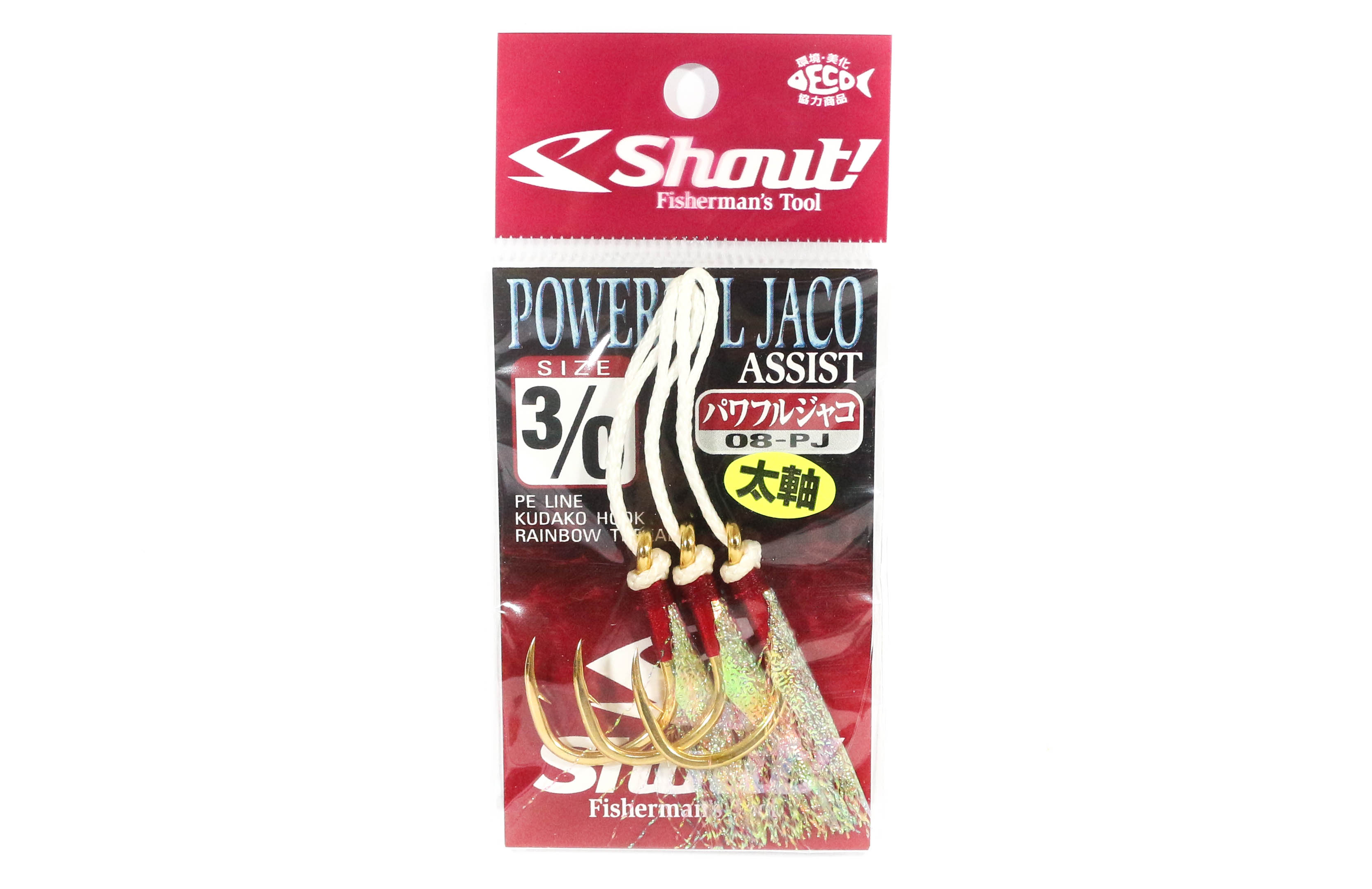Shout 08-PJ Powerful Jaco Hook Rigged Assist Rainbow Thread Size 3/0 (6300)