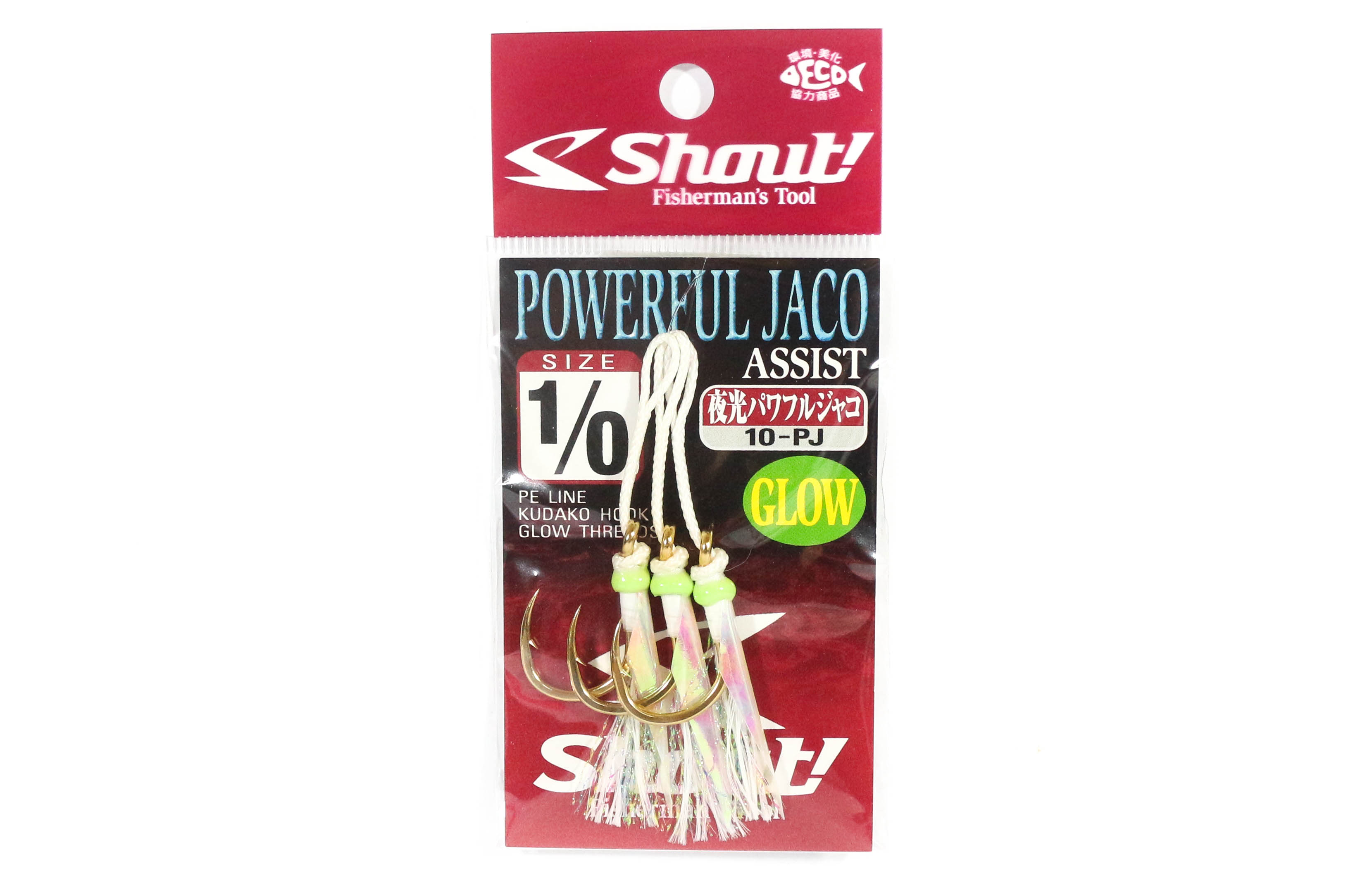 Shout 10-PJ Powerful Jaco Hook Rigged Assist Glow Size 1/0 (8100)