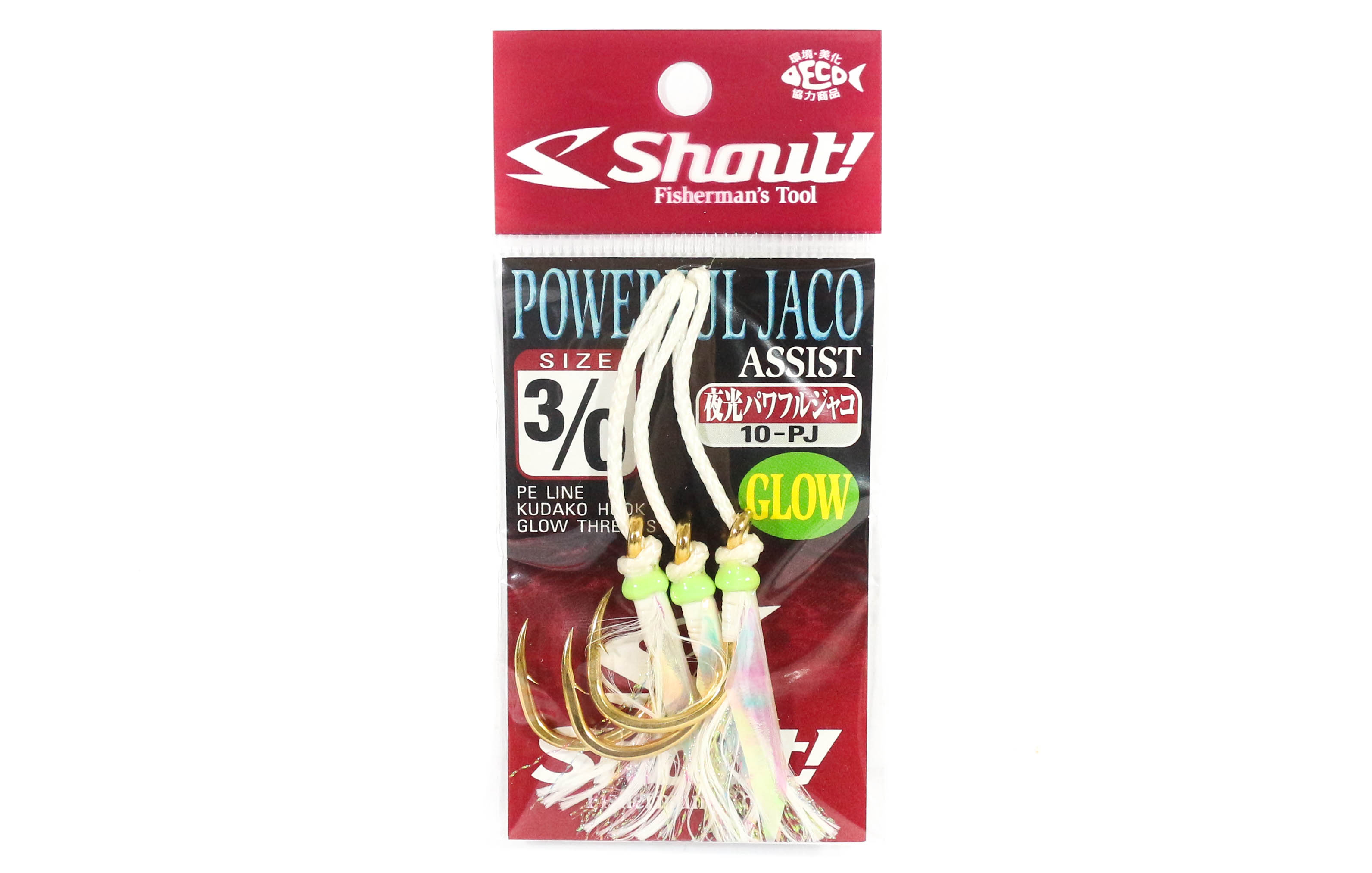 Shout 10-PJ Powerful Jaco Hook Rigged Assist Glow Size 3/0 (8308)
