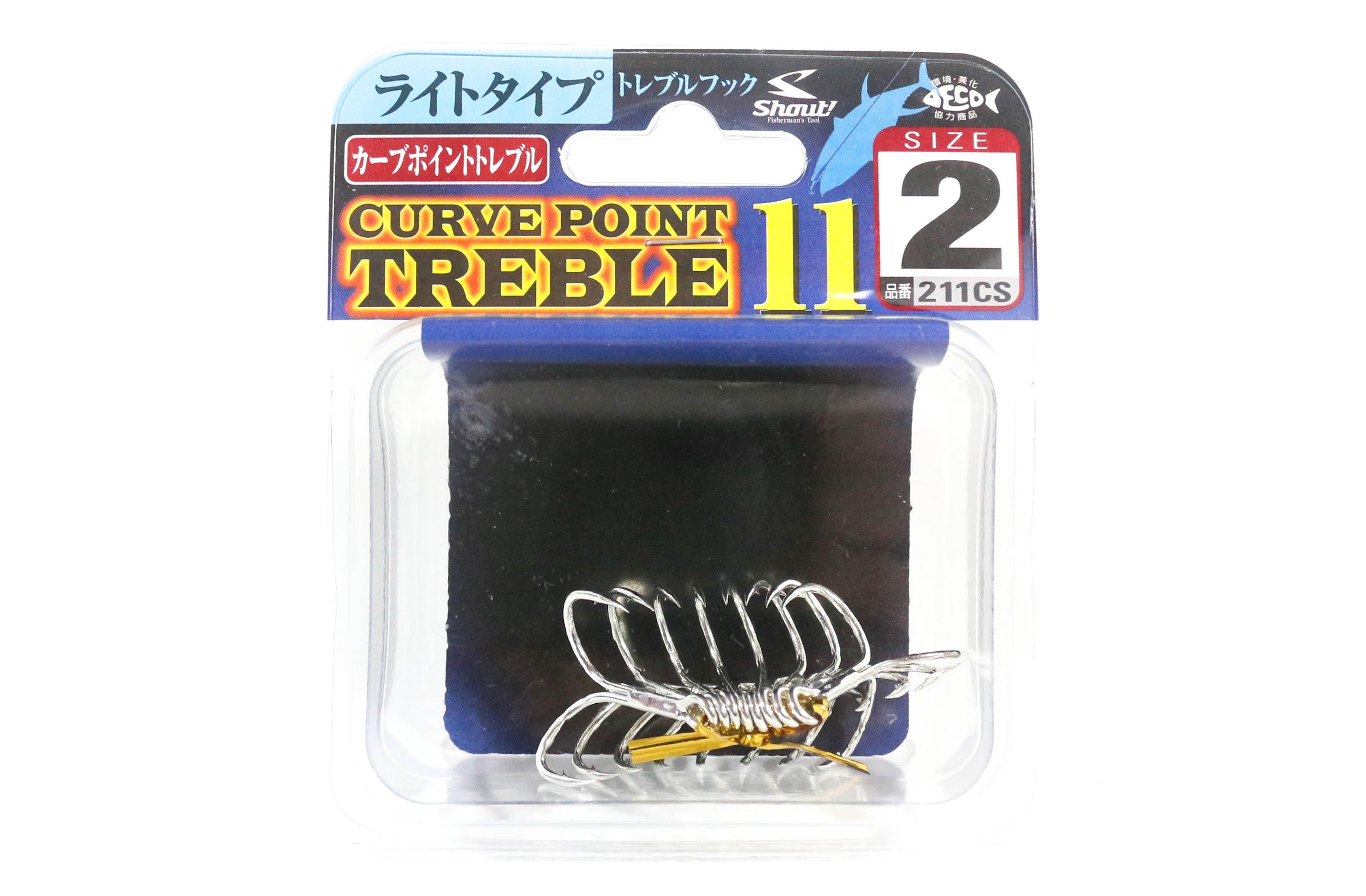 Shout 211-CS Curve Point Treble Hook Light Gauge Size 2 (9609)