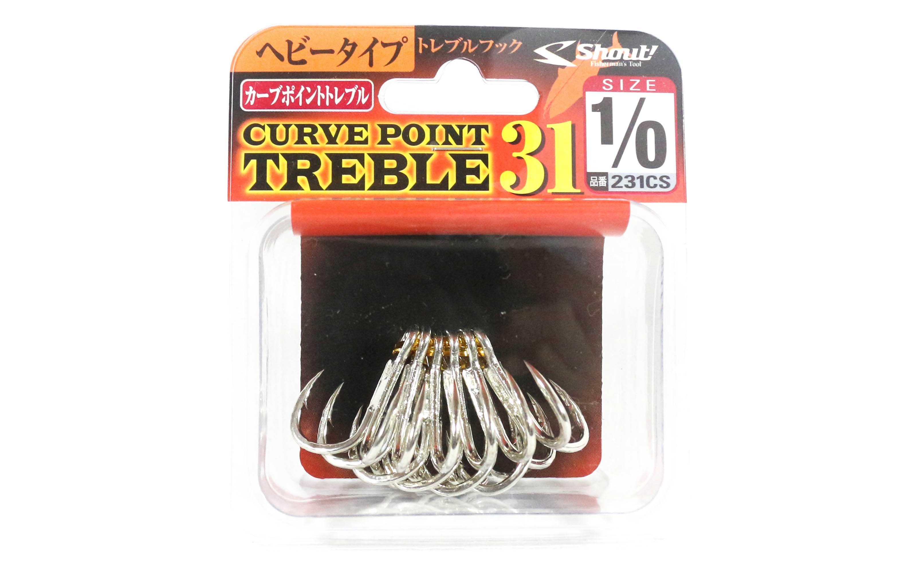 Shout 231-CS Curve Point Treble Hook Heavy Duty Size 1/0 (1542)