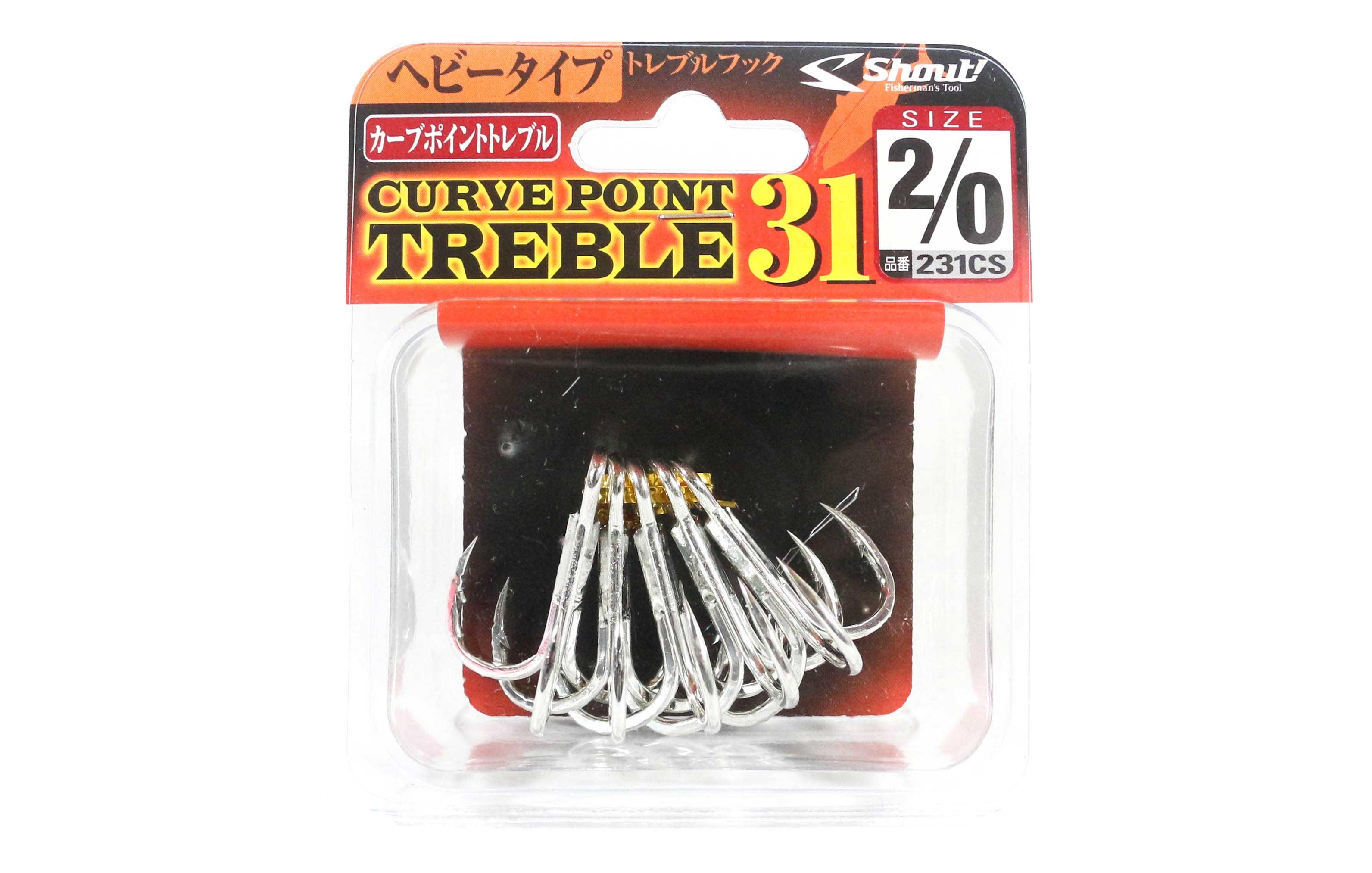Shout 231-CS Curve Point Treble Hook Heavy Duty Size 2/0 (1559)