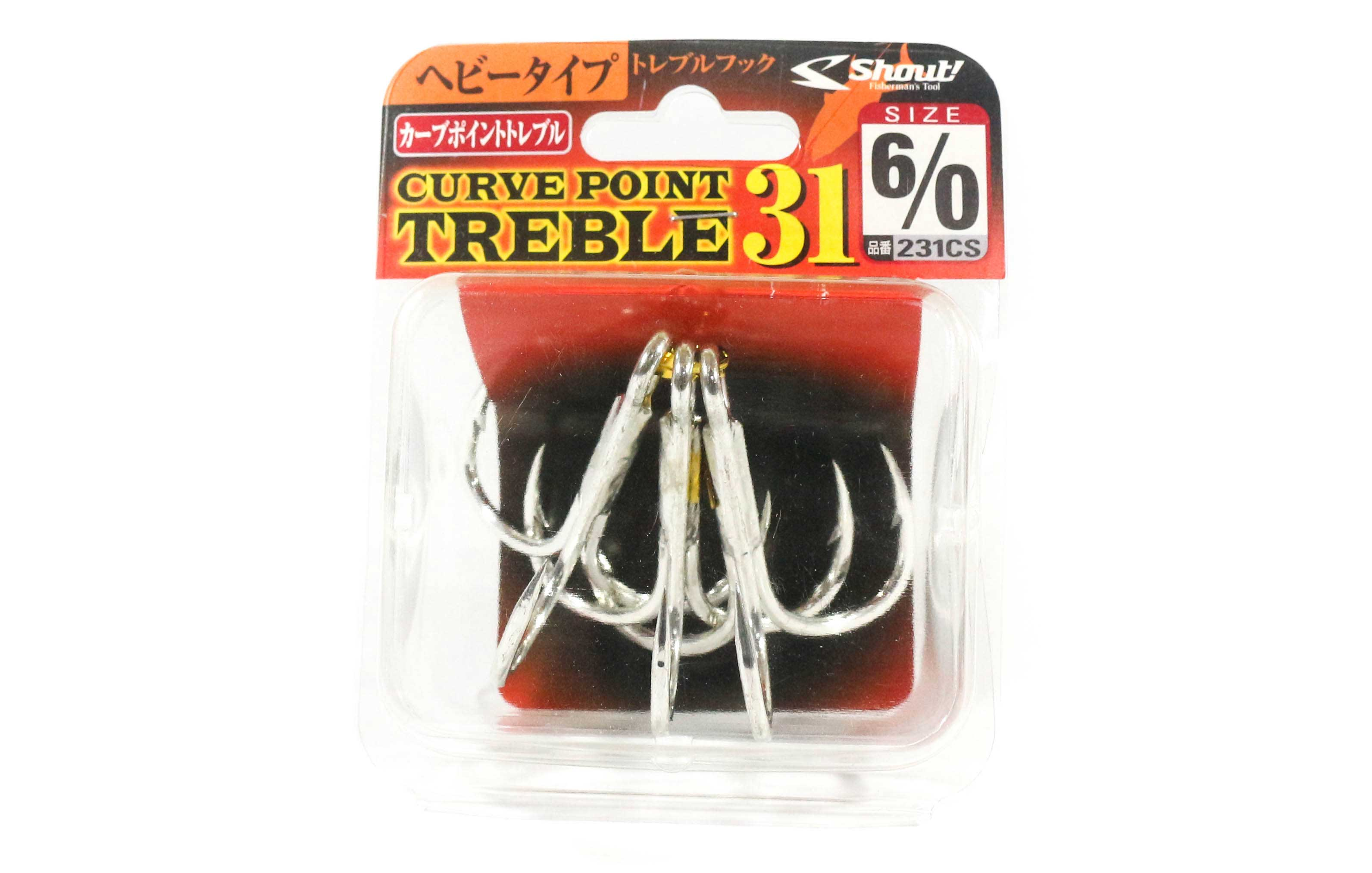 Shout 231-CS Curve Point Treble Hook Heavy Duty Size 6/0 (1597)
