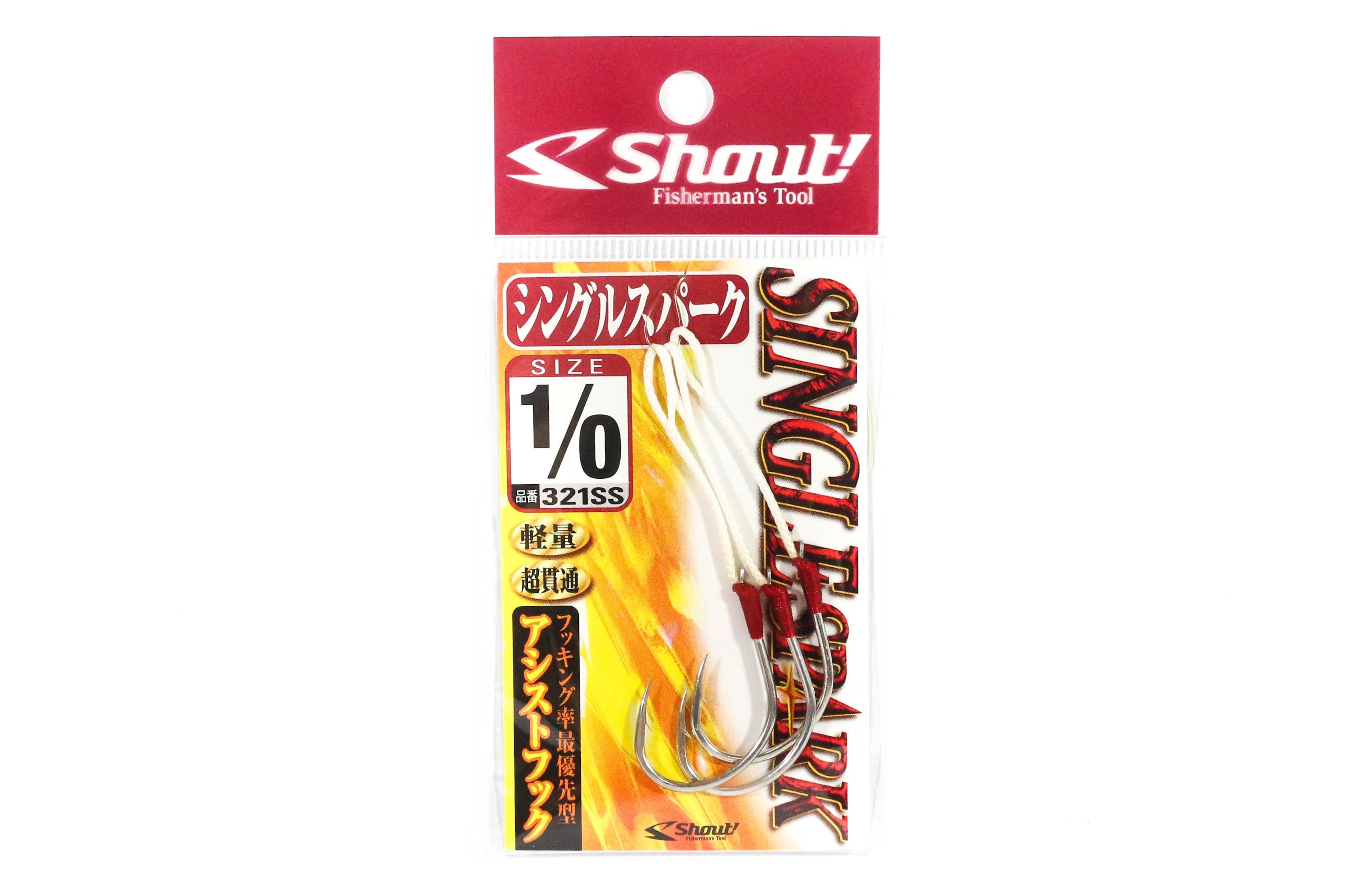Sale Shout 321-SS Single Spark Rigged Assist Hook Size 1/0 (9501)