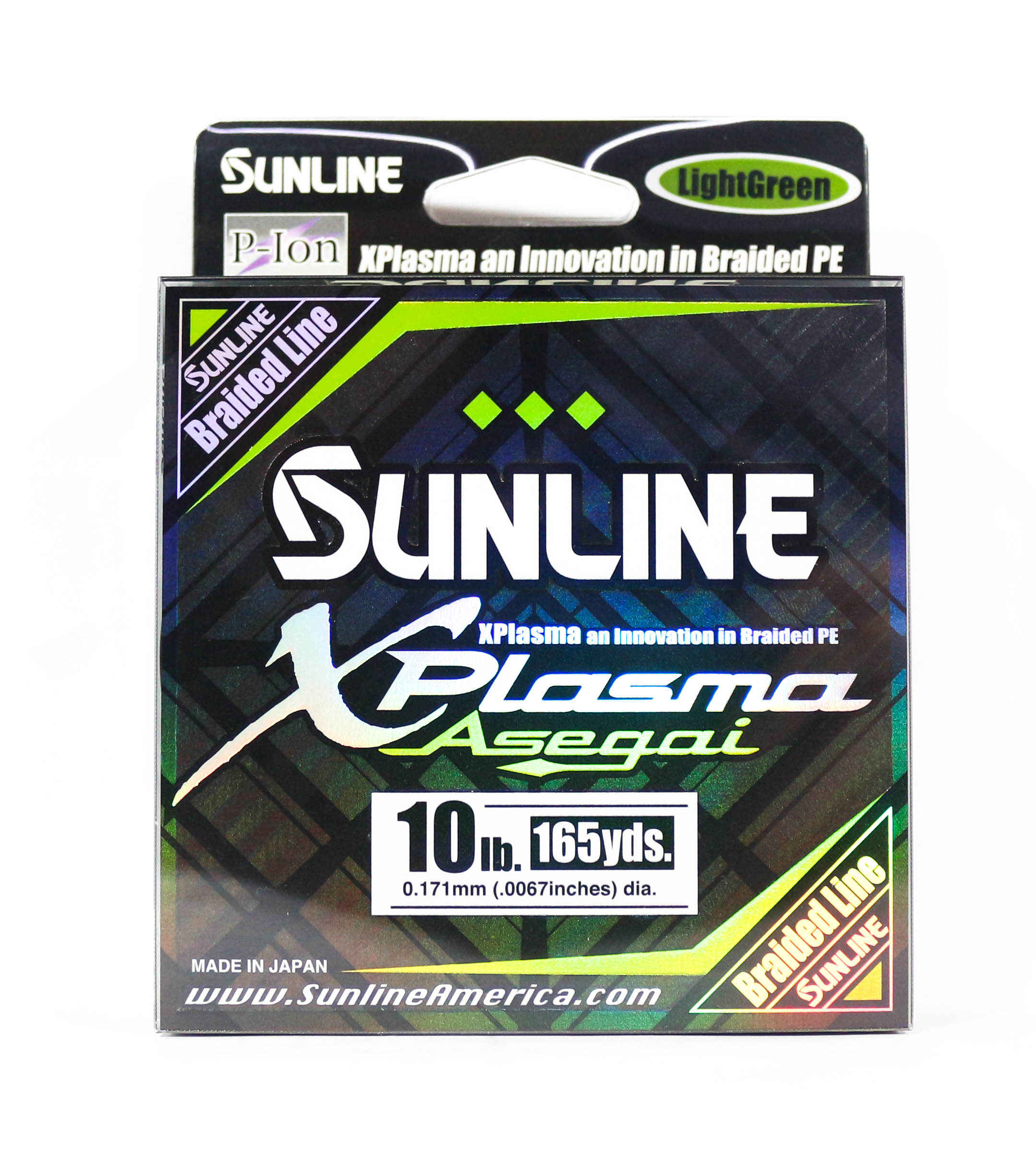 Sunline Asegai Xplasma Braided Line 165yds P.E 1 10lb Light Green (5004)