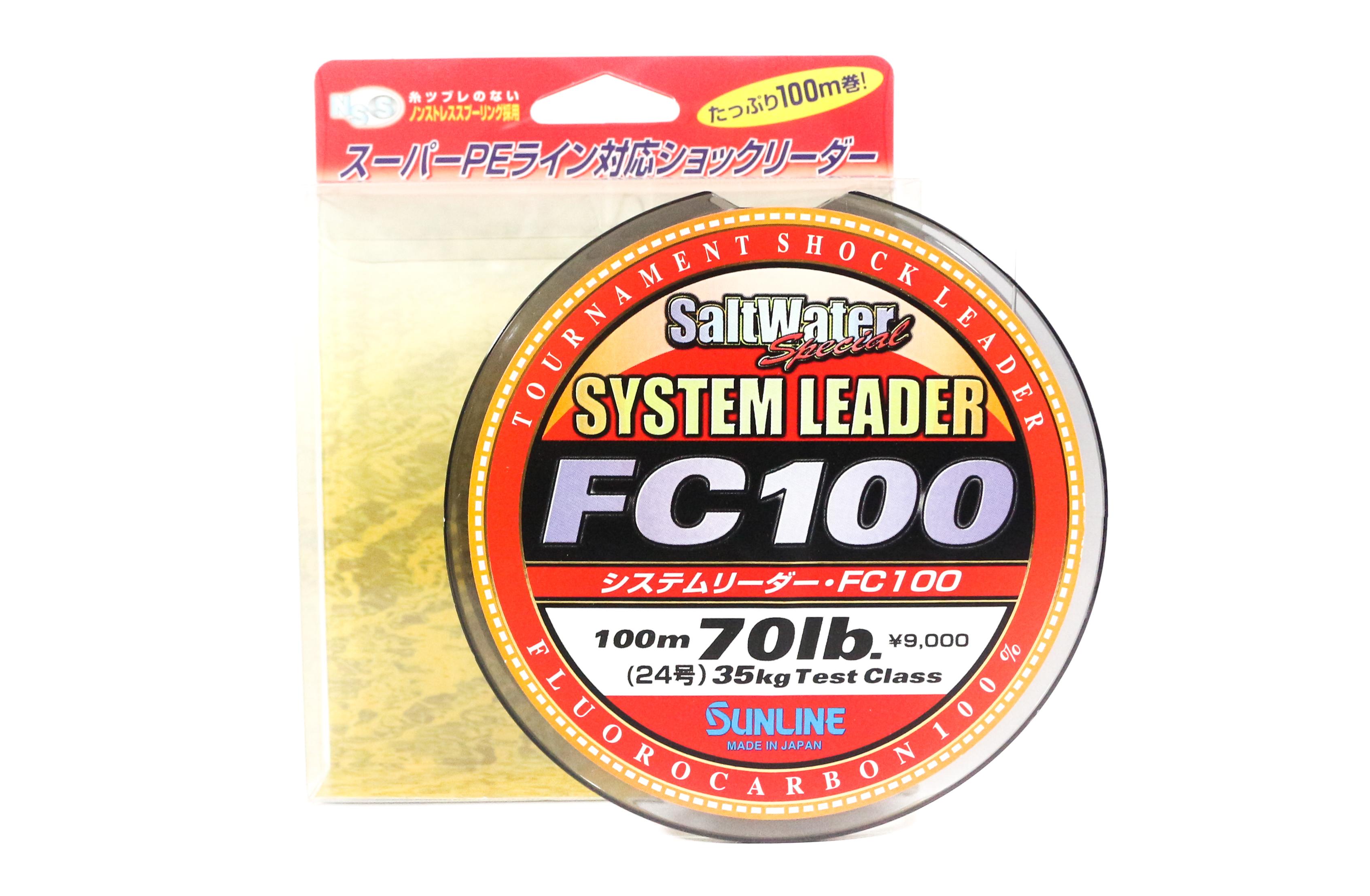 Sunline System 100 Fluorocarbon Shock Leader Line 100m 70lb (1918)