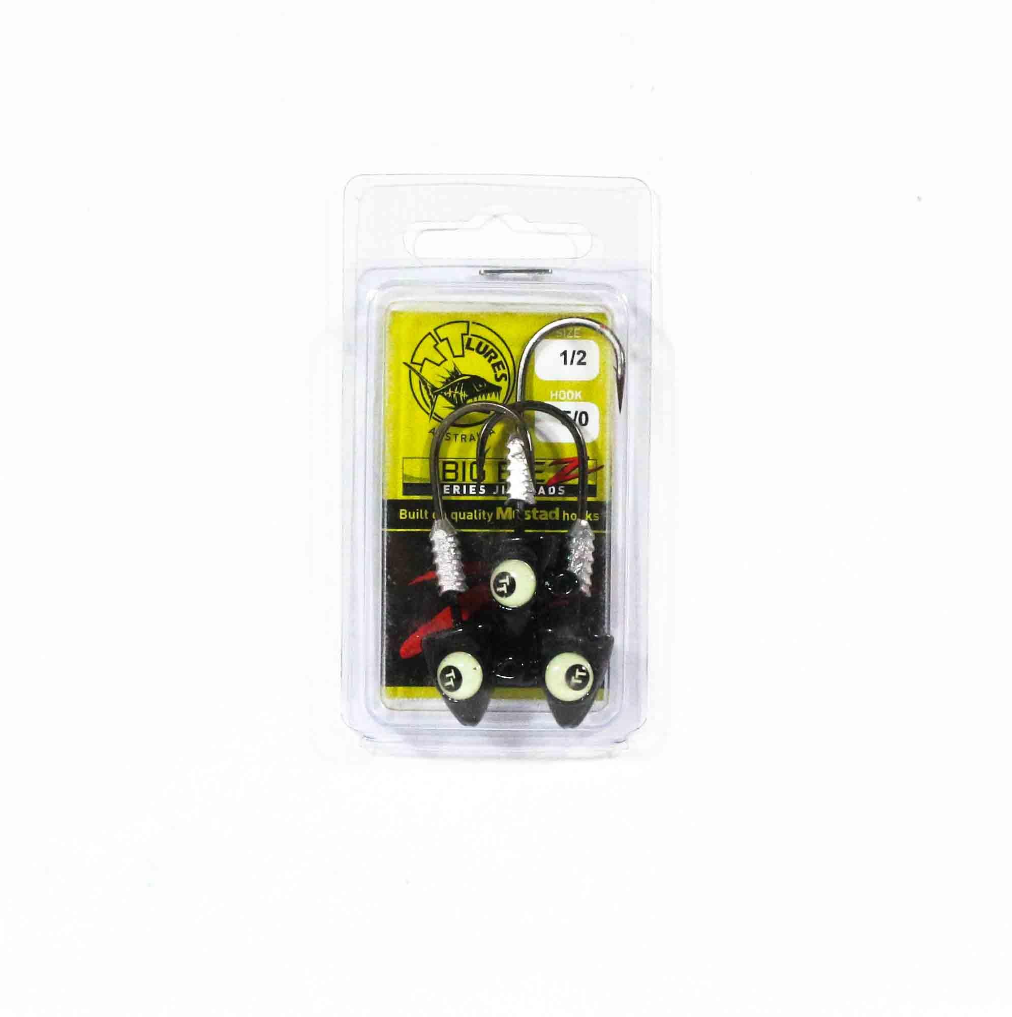 Tackle Tactics TT Big EyeZ Jig Head 1/2 oz 5/0 Black Glow EyeZ (5154)