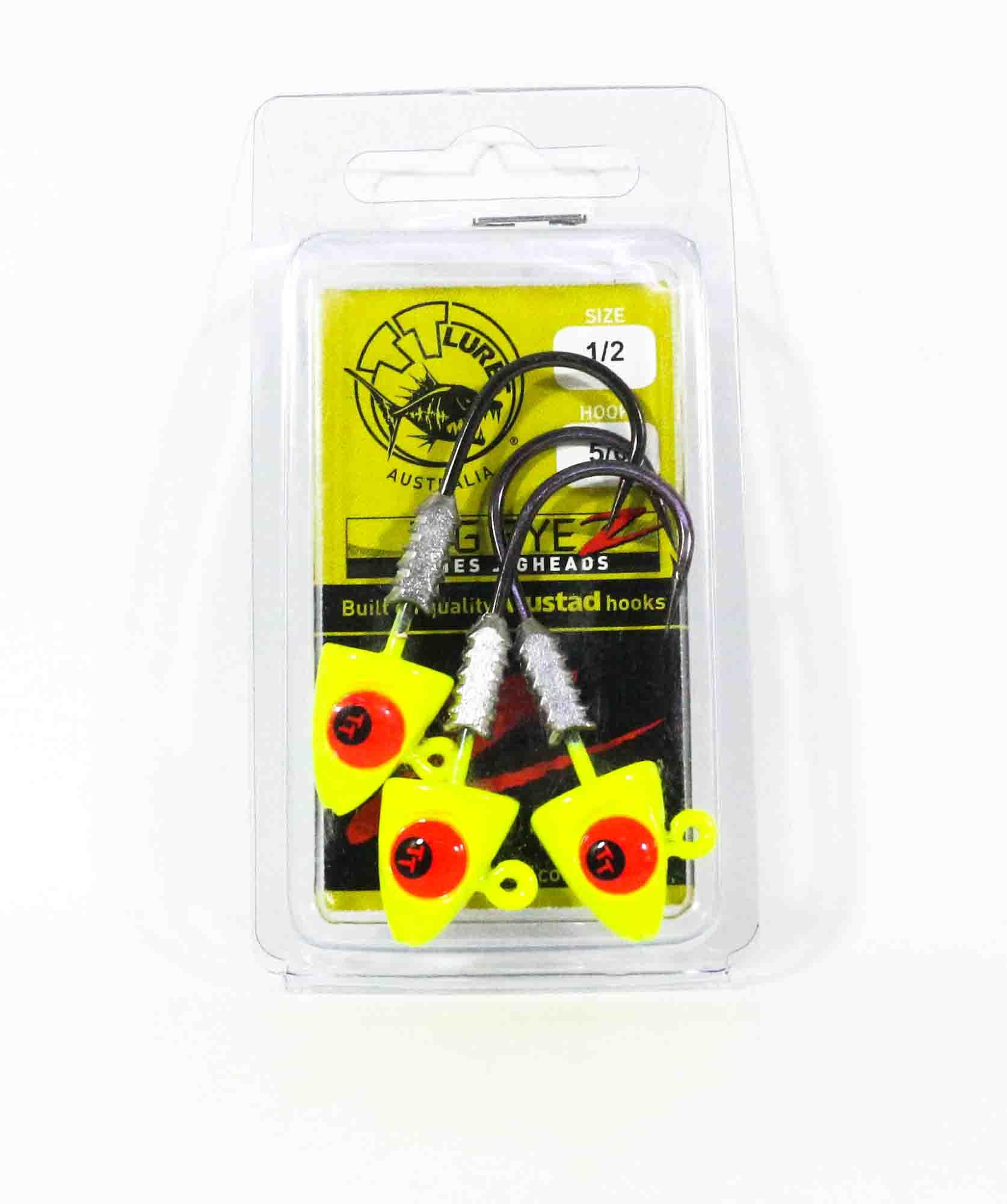 Tackle Tactics TT Big EyeZ Jig Head 1/2 oz 5/0 Chartreuse Red EyeZ (5185)
