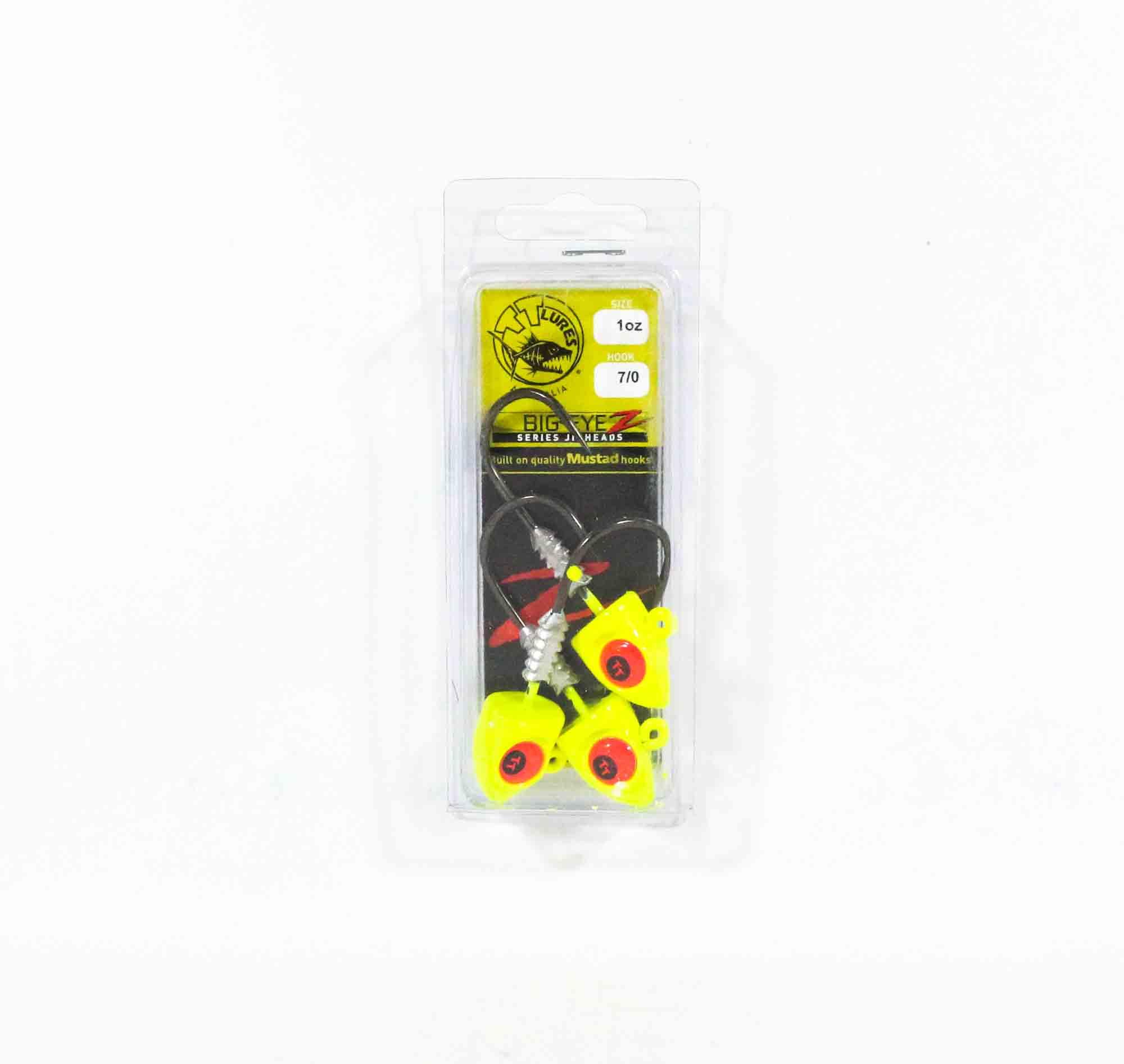 Tackle Tactics TT Big EyeZ Jig Head 1 oz 7/0 Chartreuse Red EyeZ (5284)