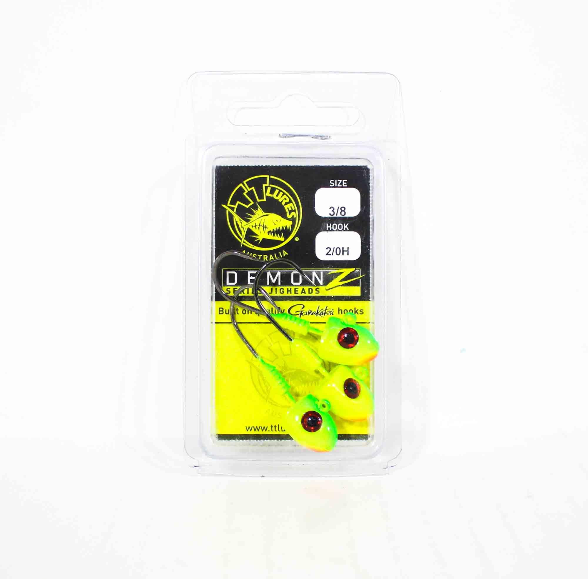 Tackle Tactics TT Demonz Jig Head 3/8oz 2/0H 3 per pack Chartreuse (7150)