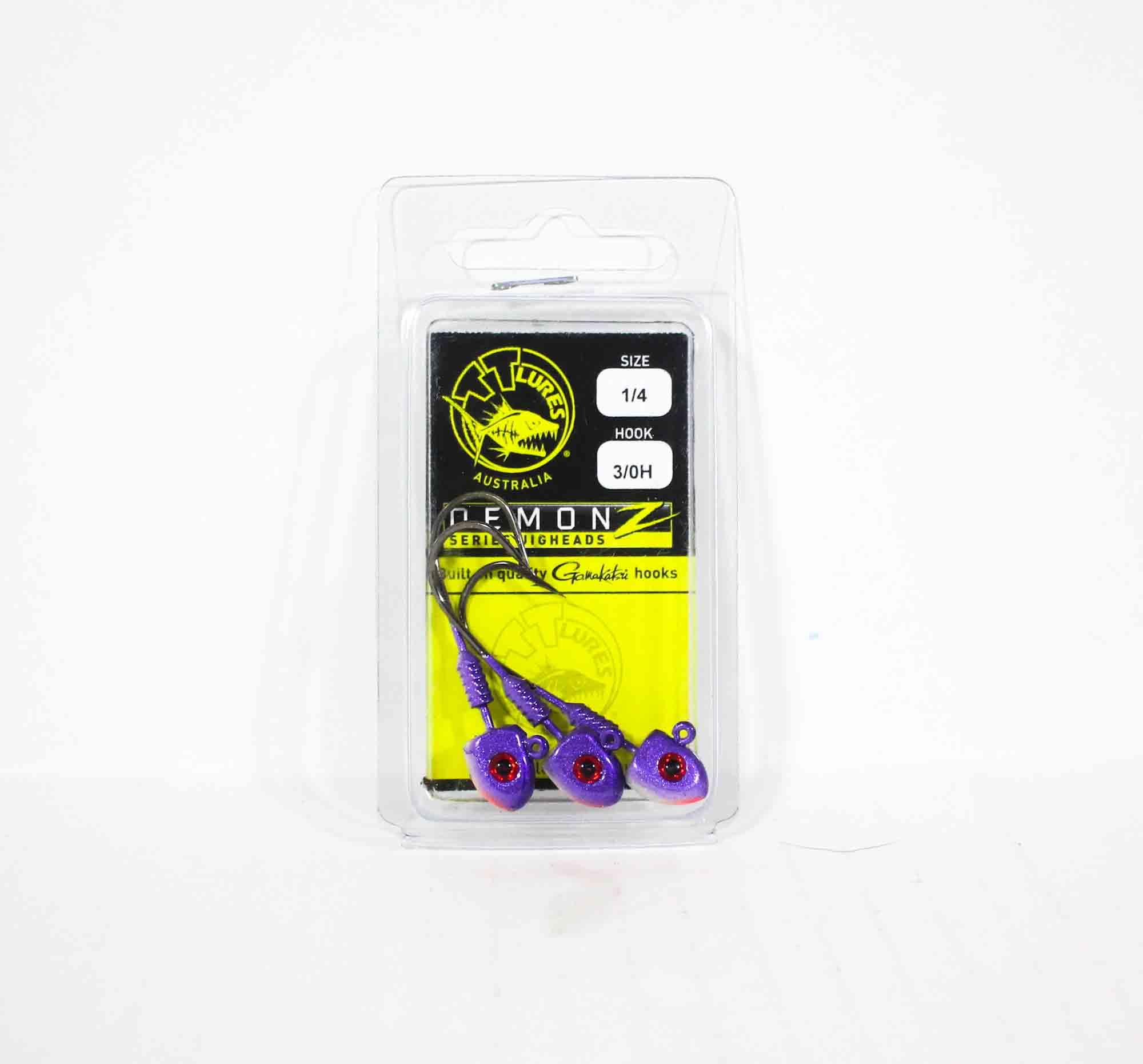 Tackle Tactics TT Demonz Jig Head 1/4oz 3/0H 3 per pack Purple Minnow (7426)