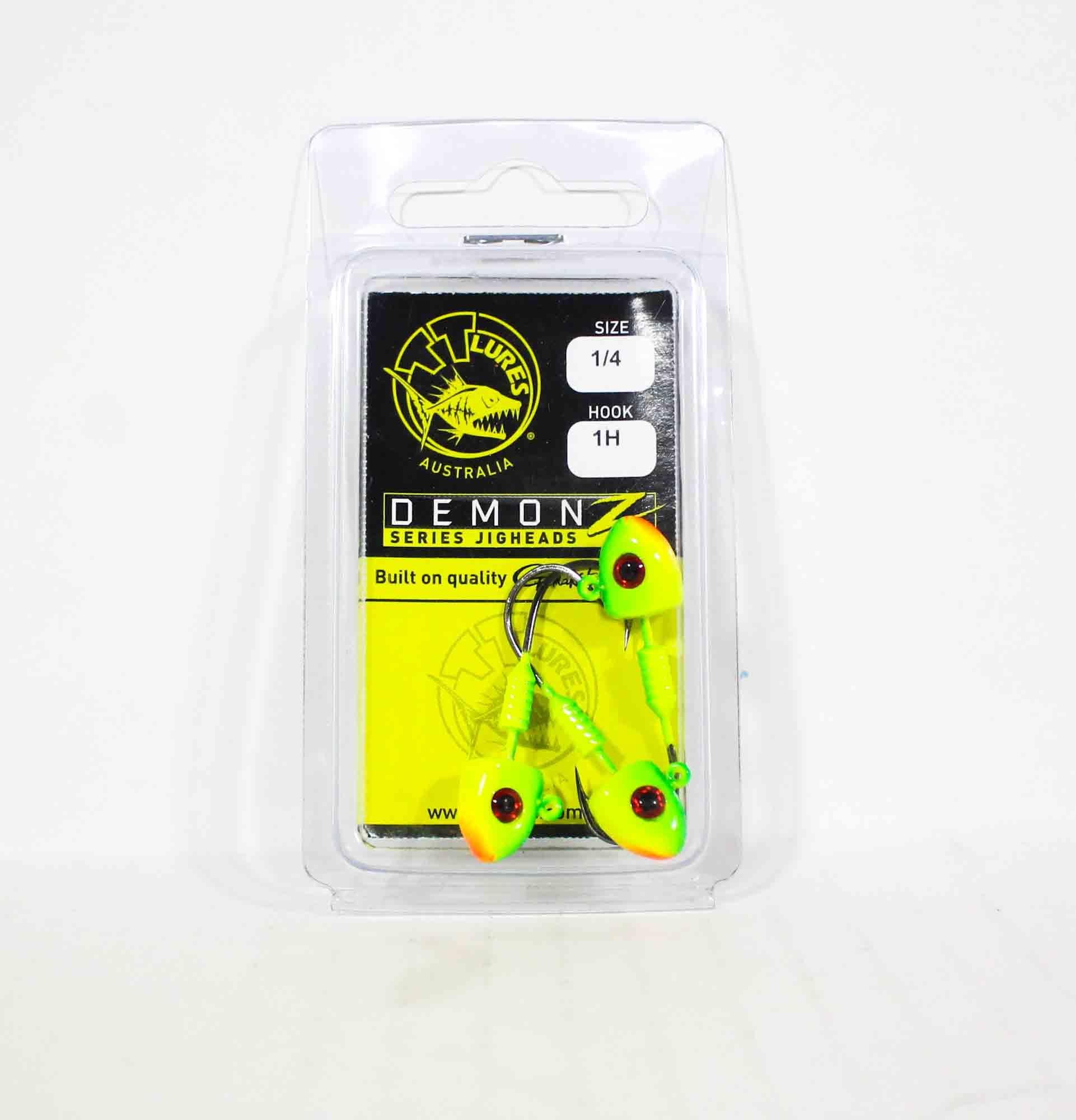 Tackle Tactics TT Demonz Jig Head 1/4oz 1/0H 3 per pack Chartreuse (7556)