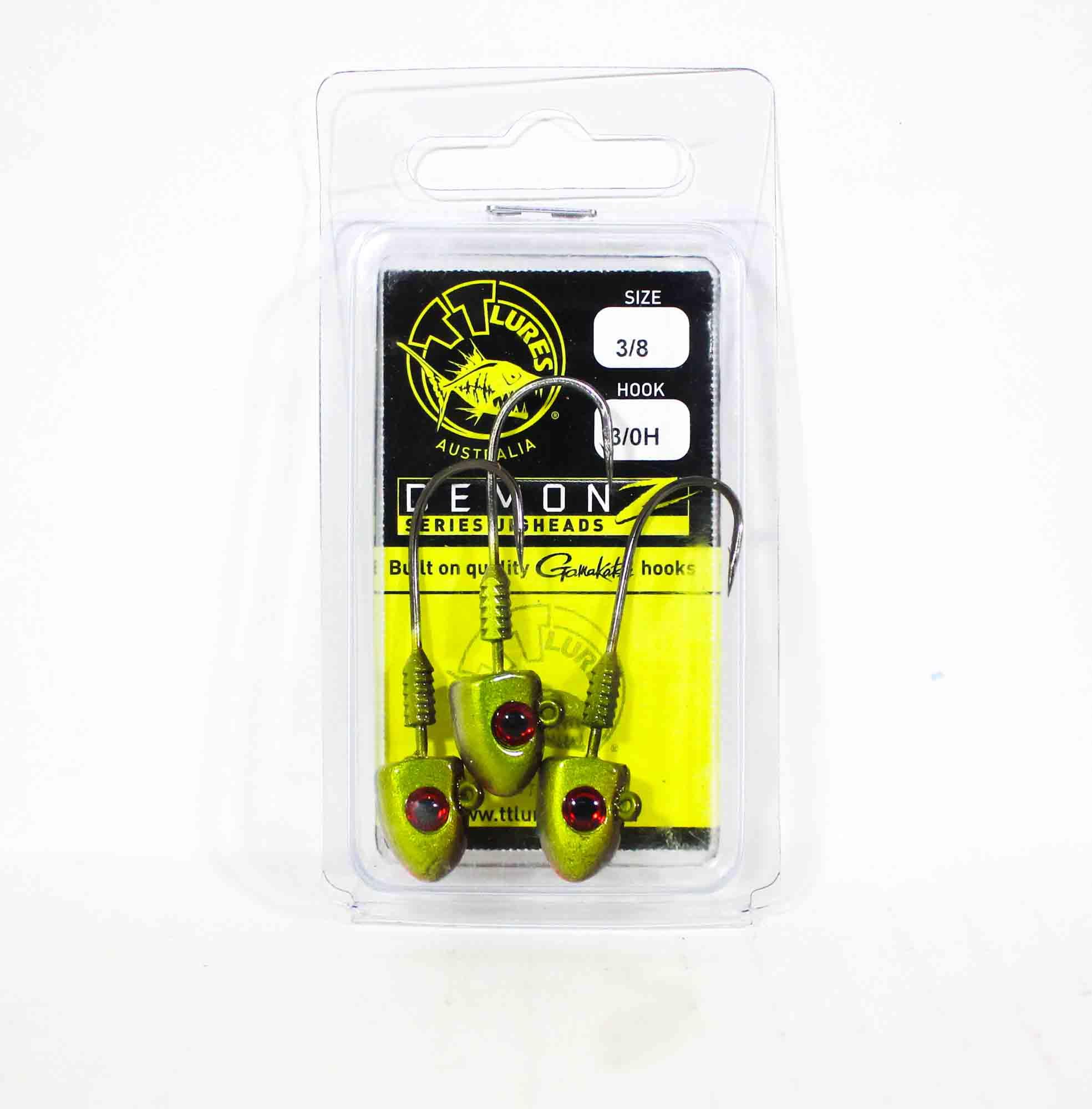 Tackle Tactics TT Demonz Jig Head 3/8oz 3/0H 3 per pack Green (7617)