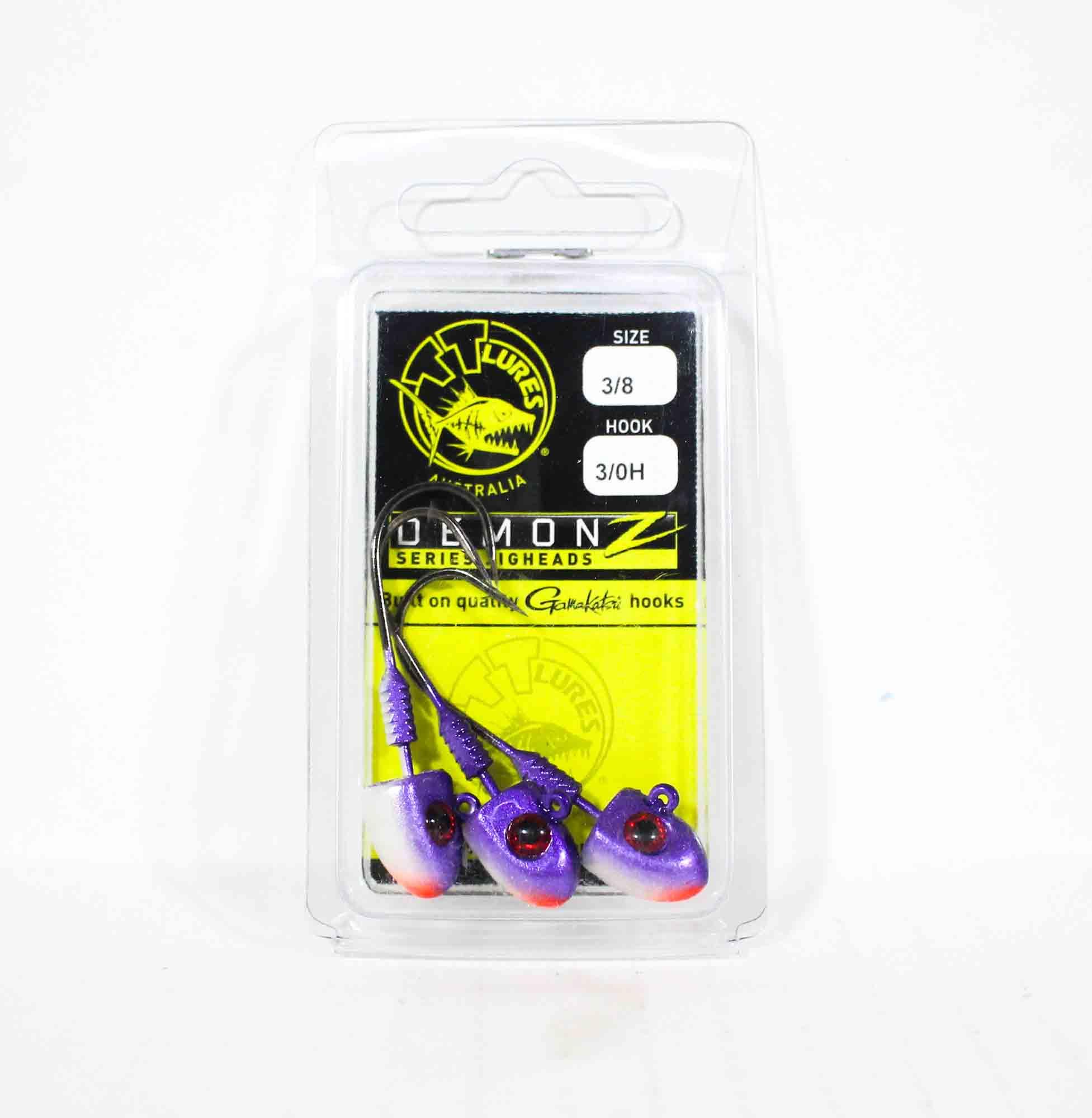 Tackle Tactics TT Demonz Jig Head 3/8oz 3/0H 3 per pack Purple Minnow (7624)