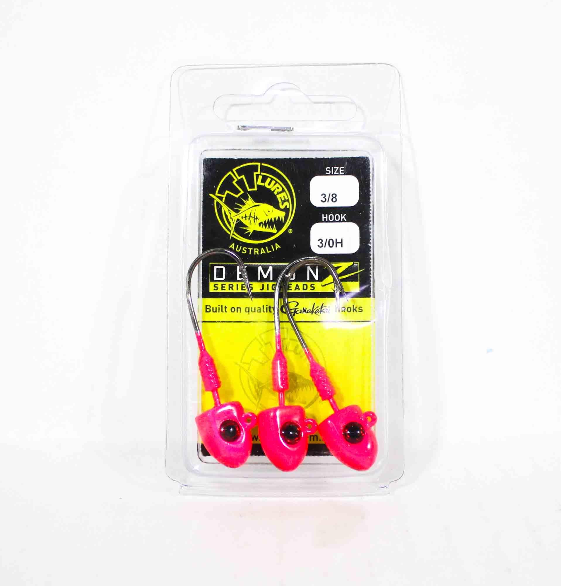 Tackle Tactics TT Demonz Jig Head 3/8oz 3/0H 3 per pack Pink (7662)