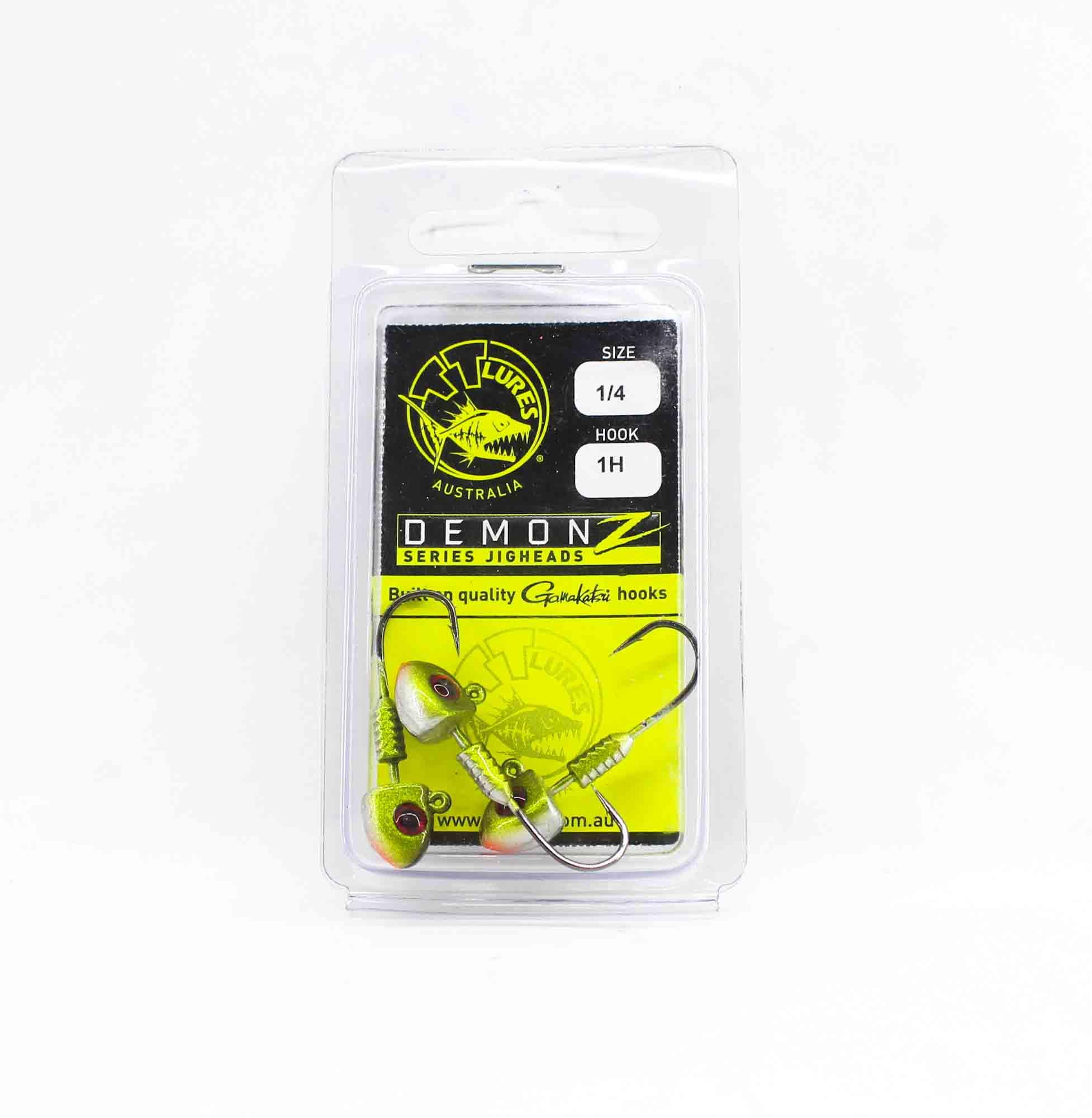 Tackle Tactics TT Demonz Jig Head 1/4 oz 1H 3 per pack Green (7716)