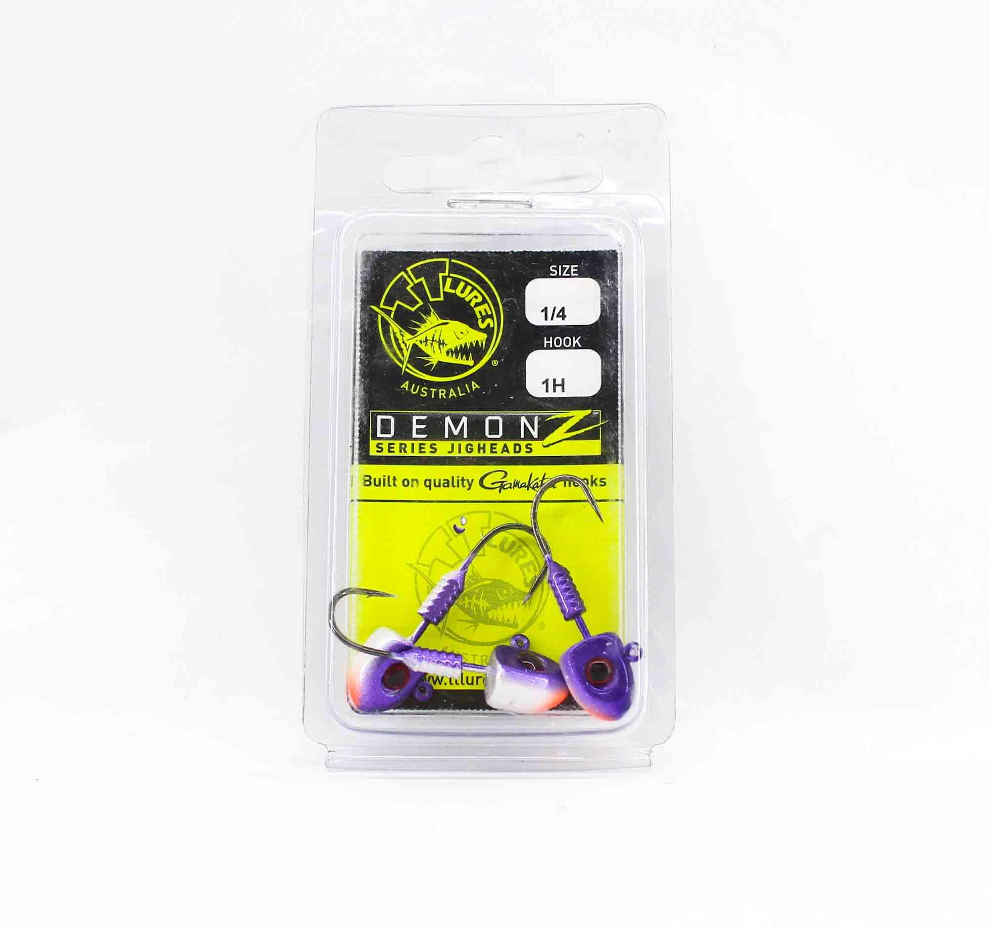 Tackle Tactics TT Demonz Jig Head 1/4 oz 1H 3 per pack Purple Minnow (7723)