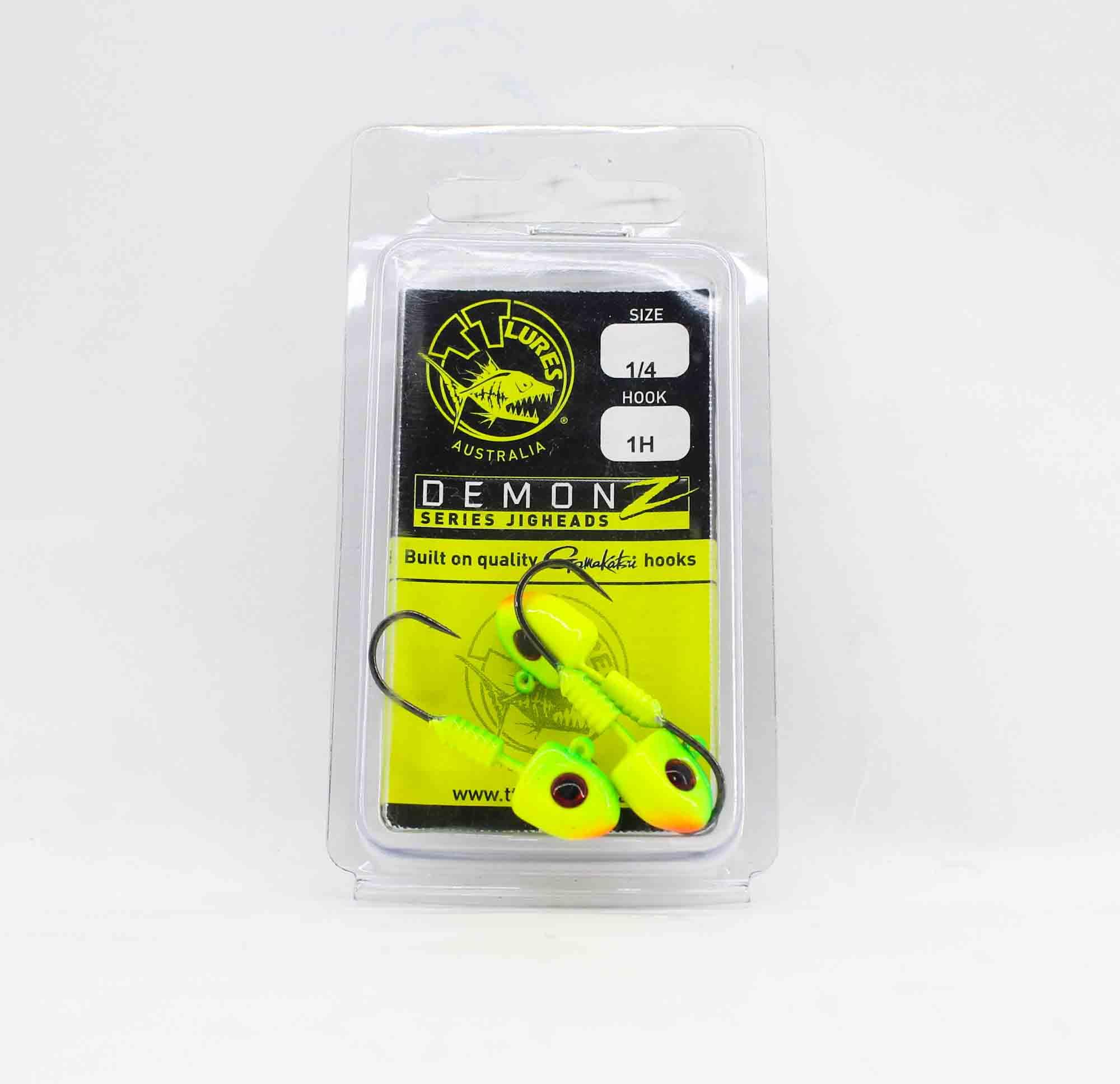 Tackle Tactics TT Demonz Jig Head 1/4 oz 1H 3 per pack Chartreuse (7754)