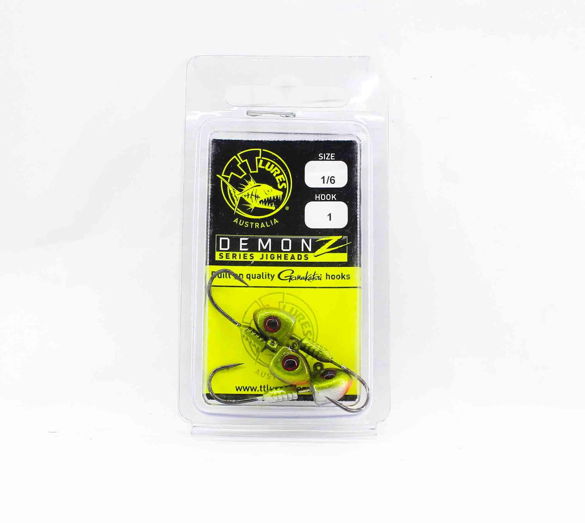Tackle Tactics TT Demonz Jig Head 1/6 oz 1H 3 per pack Green (7815)