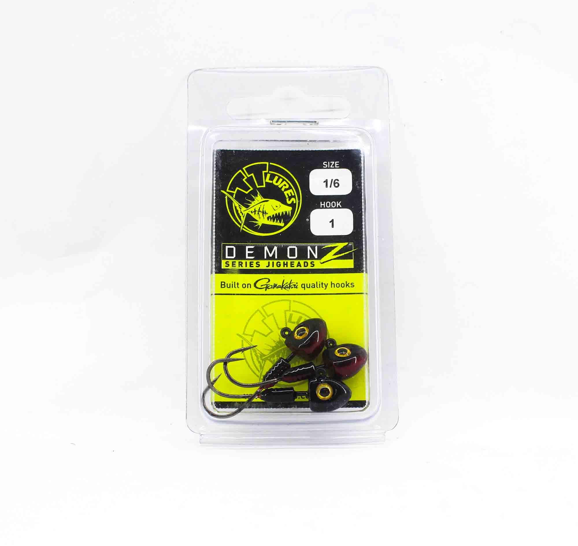 Tackle Tactics TT Demonz Jig Head 1/6 oz 1H 3 per pack Red Nightmare (7839)