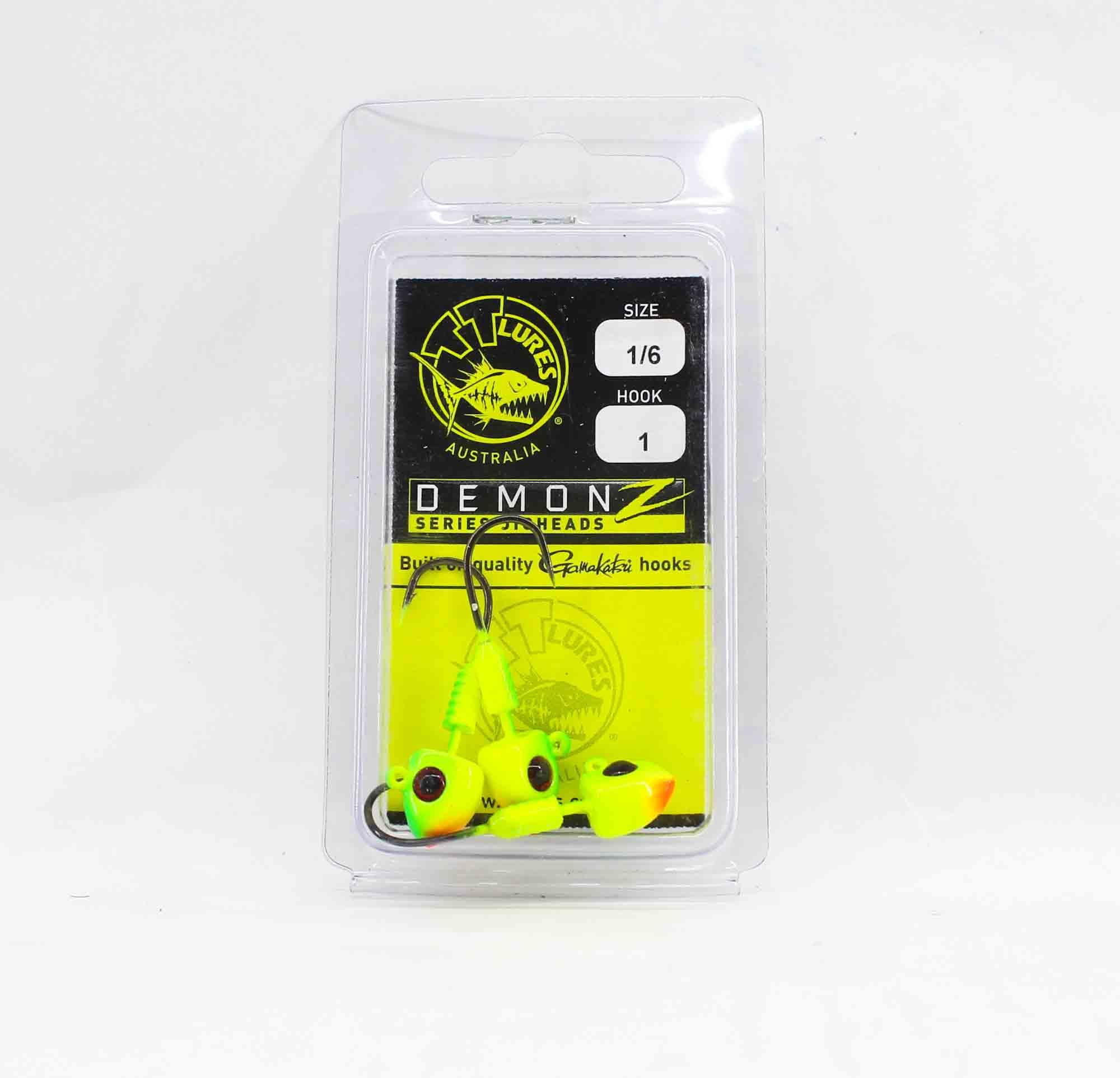 Tackle Tactics TT Demonz Jig Head 1/6 oz 1H 3 per pack Chartreuse (7853)